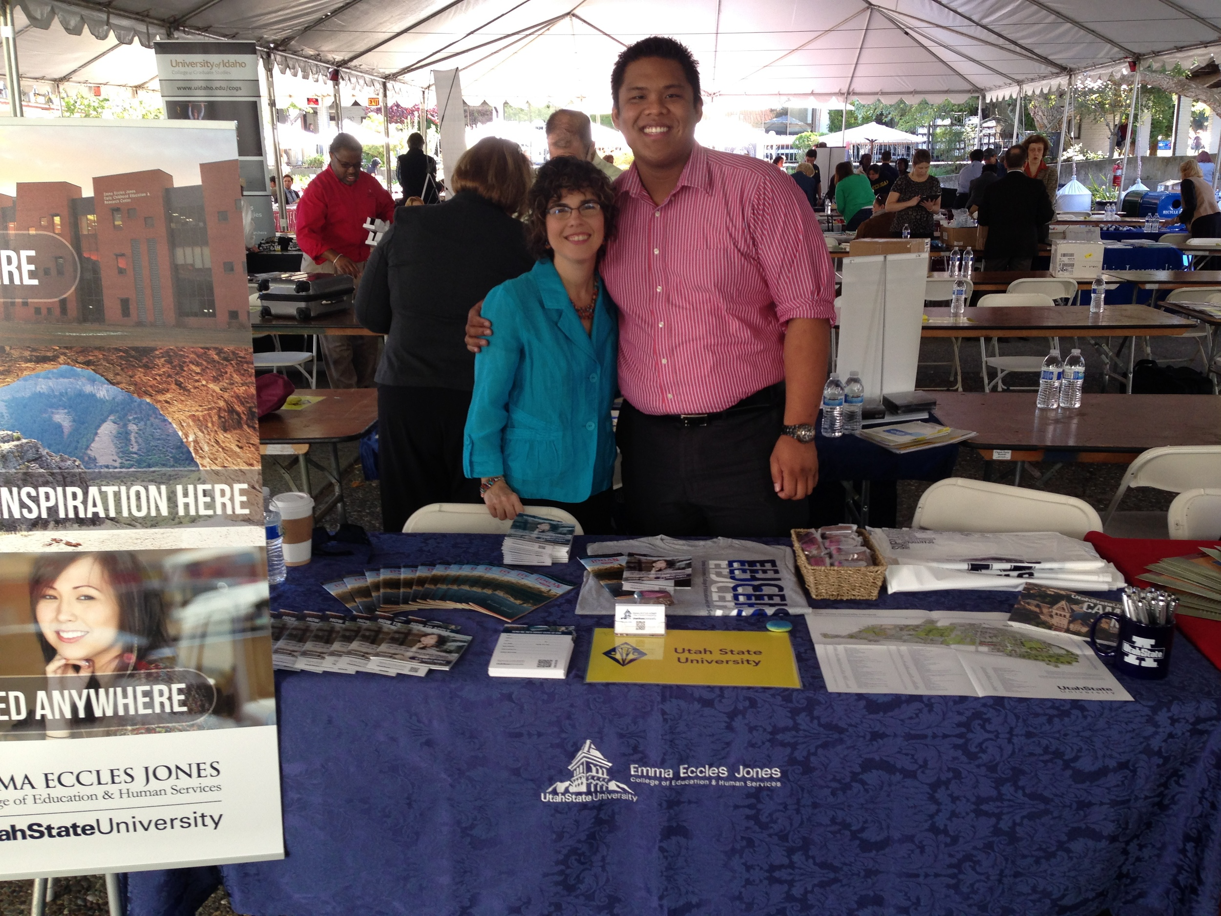Lesther and Melanie recruiting students at the California Forum for Diversity in Higher Education. October 2013.
