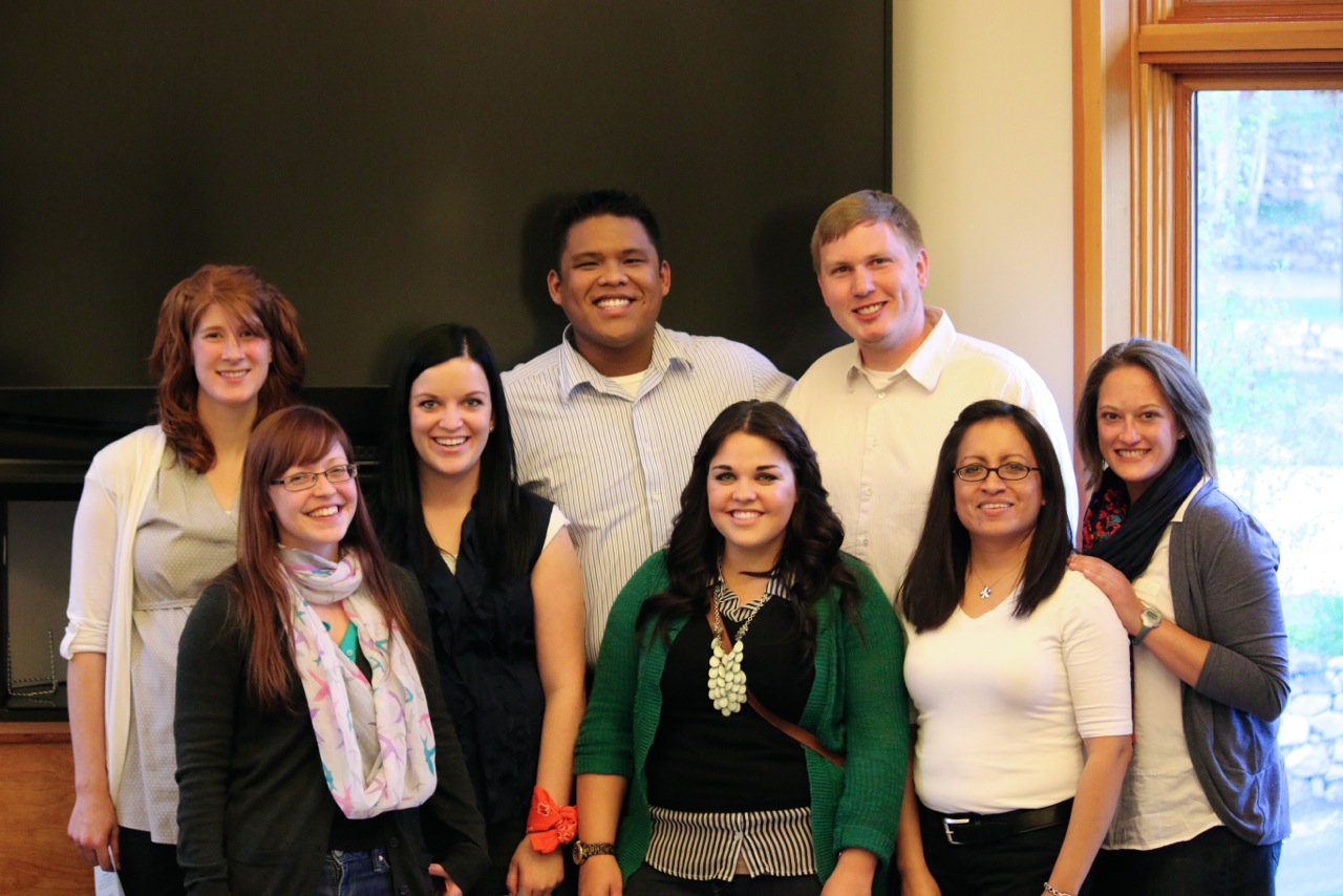 From left to right: Lychelle, Christina, Kendra, Lesther, McKell, Lynn, Ana, and Jenn.   A team of USU students, many from the Culture and Mental Health Lab, conducted a diversity training for the Hugh O'Brian Youth (HOBY) leadership group on 5/8/2014 in Provo, UT. Youths learned about cultural competence through hands-on activities and skillful debriefing from this capable team of trainers!