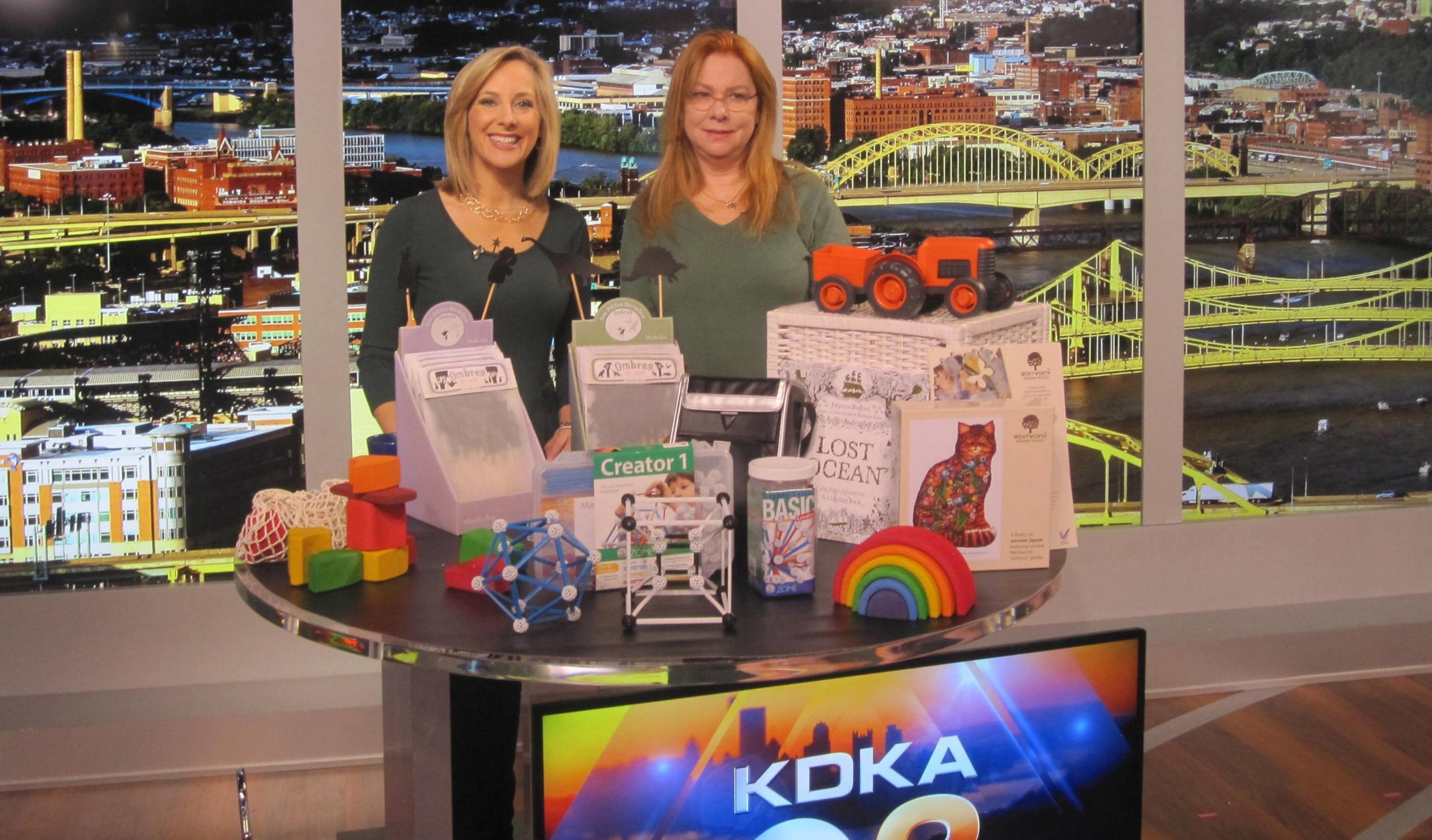 Nan demonstrates some of the best toys for free play on Pittsburgh's KDKA.
