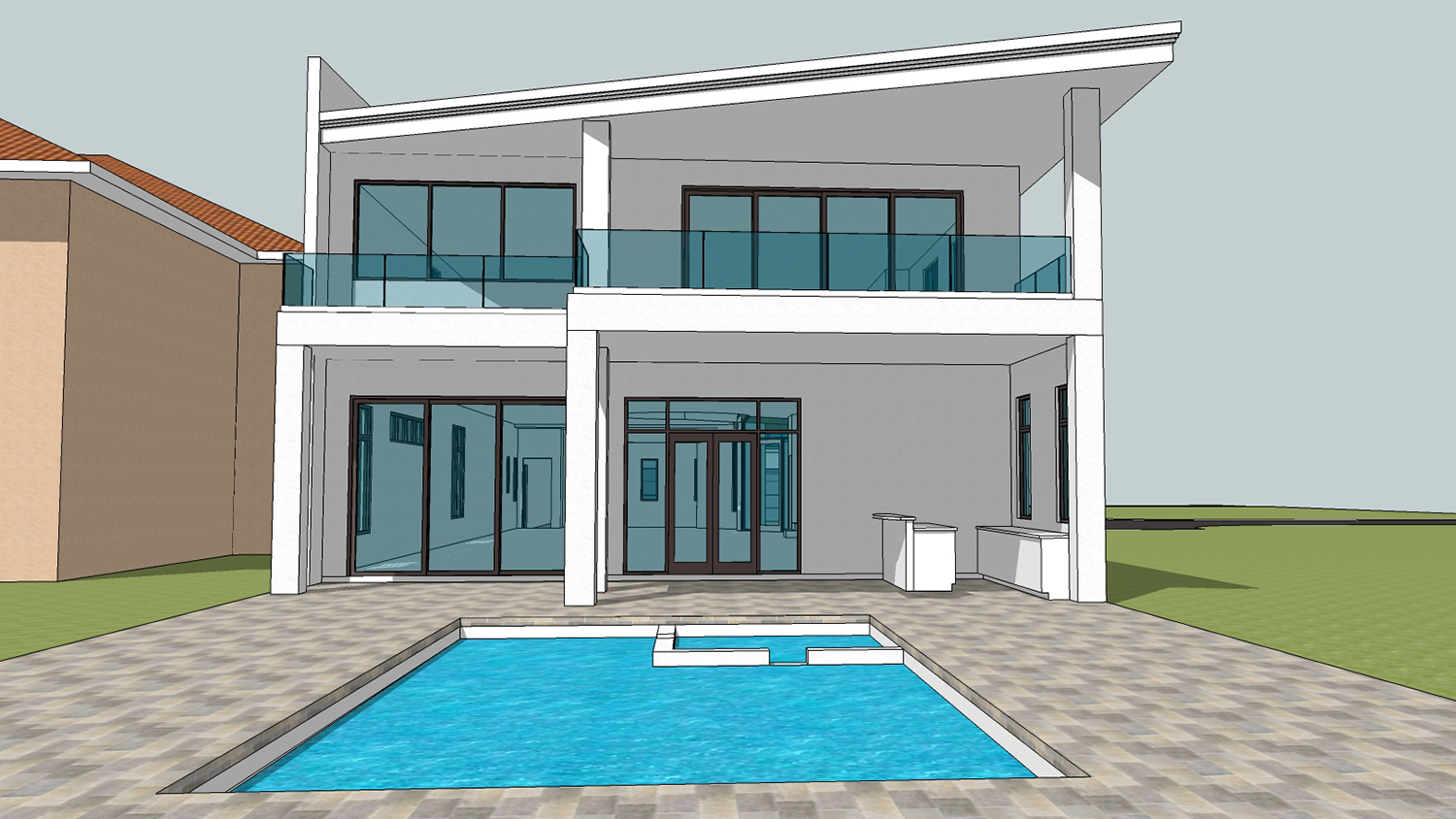 Rear Elevation and Pool