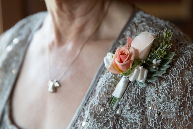 mother's pin on corsage. Champagne Sweetheart rose.jpg