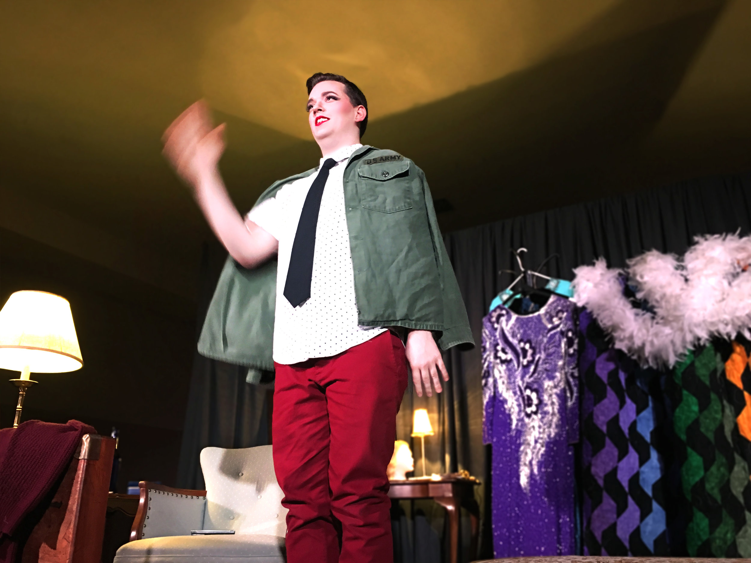 Andrew Harth as Bill Carlson / Miss Seaway Rose in  Blunderland  by Rufus Cadigan (photo by Mike Werckle)
