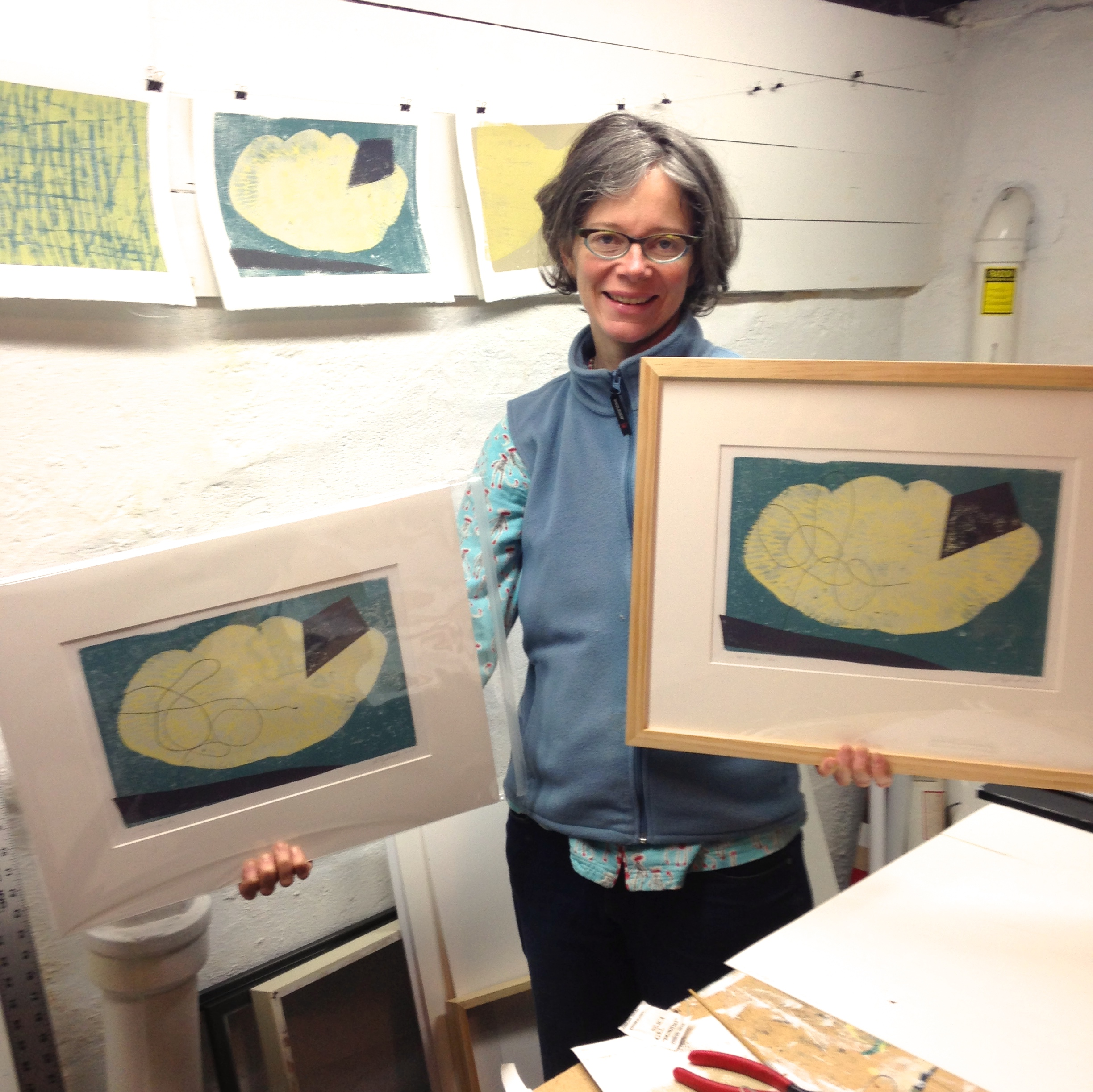 The finished matted and framed block prints!