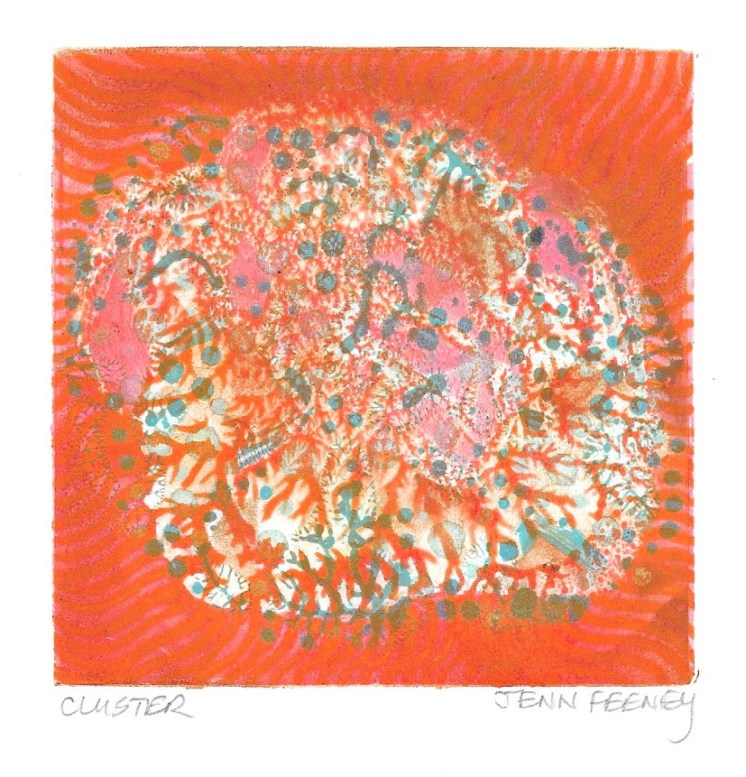 """Cluster"", Jenn Feeney, monotype, 3.5 x 3.5 inches,  www.jennfeeney.com"