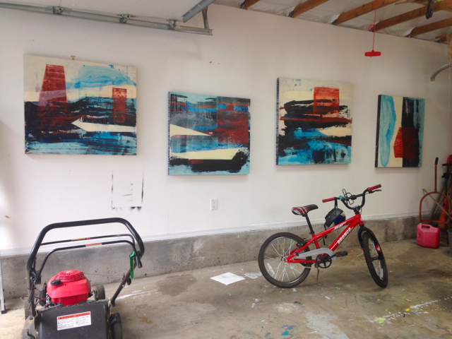 four paintings in October with bike, lawnmower and gas can
