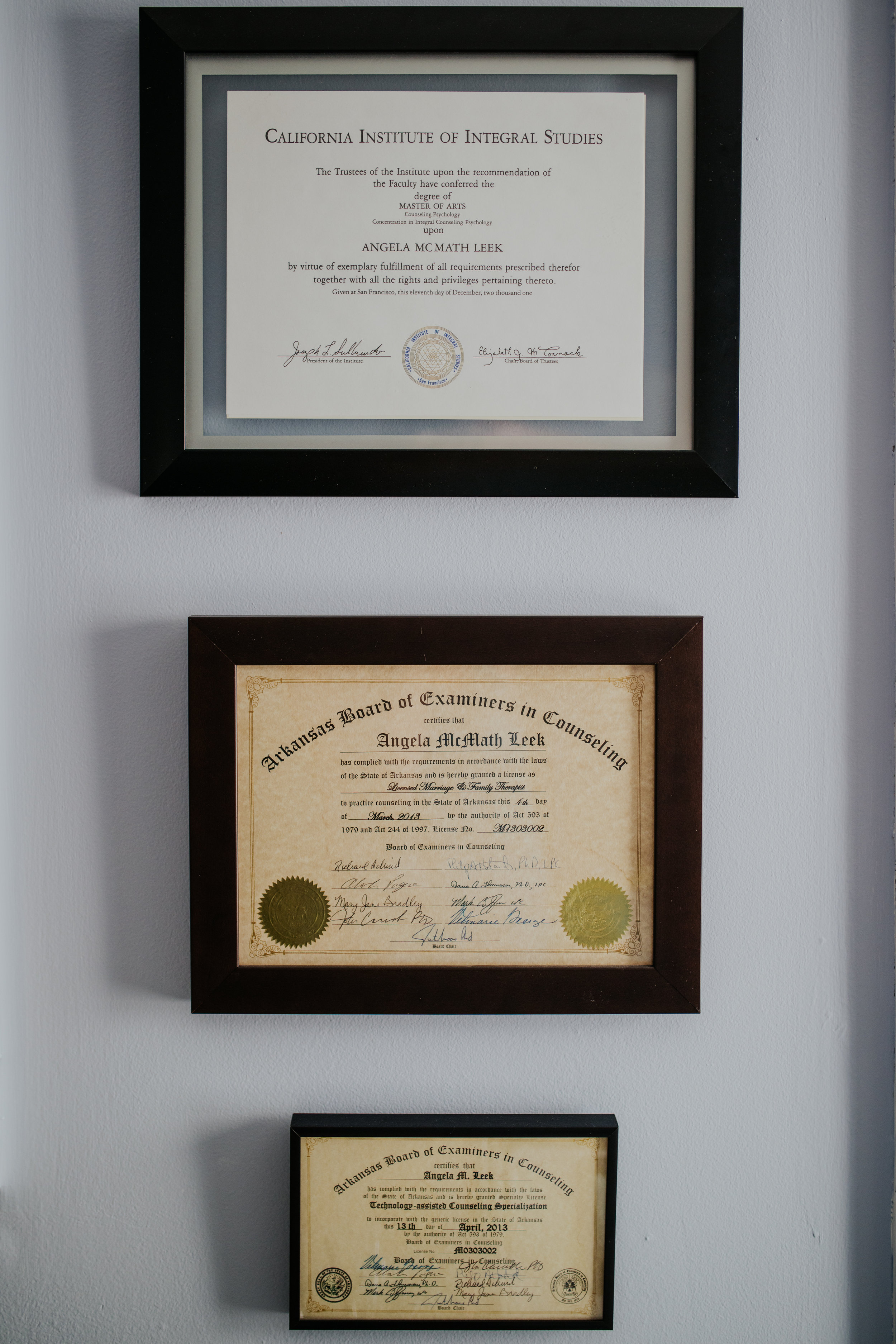 Degrees and Credentials - BA, Human Studies, Warren Wilson College. Asheville, NC 1996MA, Integral Counseling Psychology, California Institute of Integral Studies. San Francisco, CA 2001Marriage and Family Therapist (CA) MFC 41455Marriage and Family Therapist (AR) m1303002Licensed Professional Counselor (AR) #P1710368Technology Assisted Specialization (AR)Marriage and Family Therapist (GA) MFT001613Marriage and Family Therapist (NY) 001470RYT 200 (Registered Yoga Teacher) Yoga GypsyPost graduate coursework at University of Arkansas towards LPC licensure 2016-2017EMDR 2Supervision Specialization (AR)