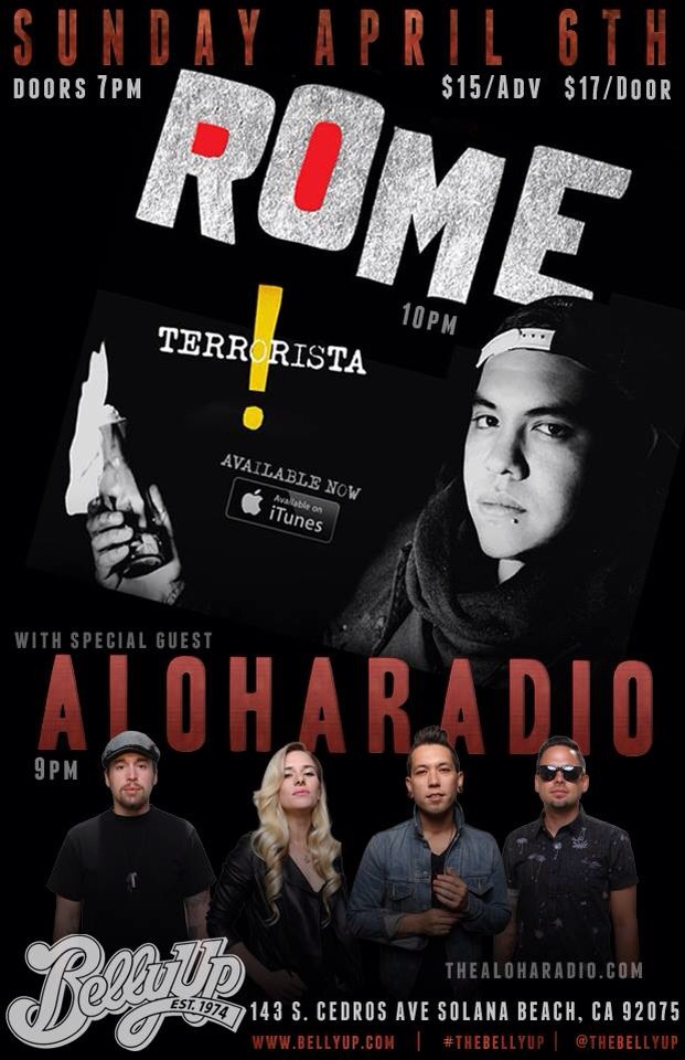 Aloha Radio to open for Rome (Sublime with Rome) at Belly Up Tavern Solana Beach, CA Sunday, April 6th.