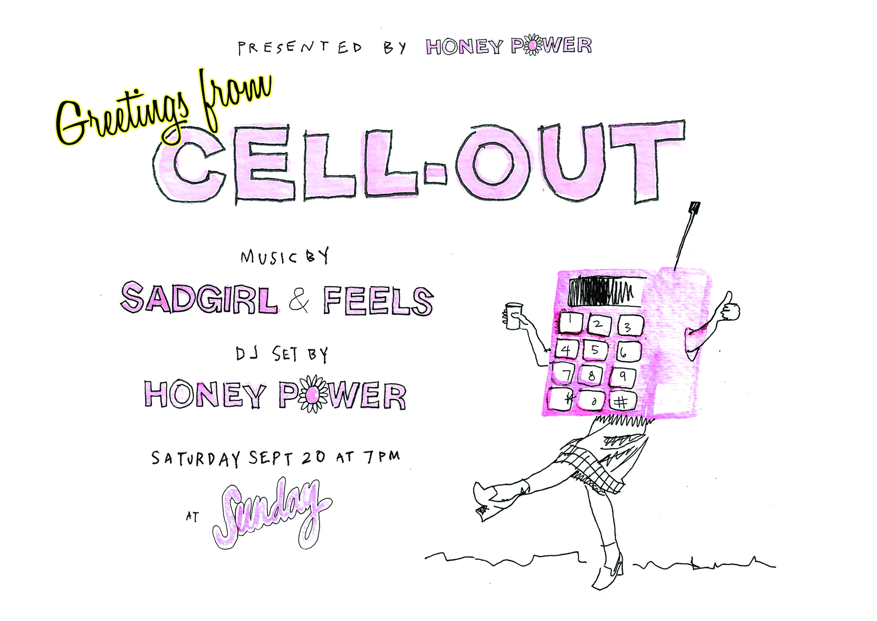 Cell Out postcard, designed by Emma Berliner