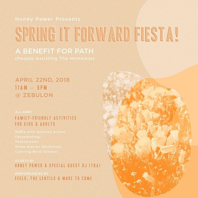 SAVE THE DATE! April 22nd at Zebulon, we'll be throwing an epic fundraiser to benefit PATH (People Assisting The Homeless), featuring performances by Feels & the Lentils, special guest DJ's, an AMAZING prize raffle, activities for kids and more! Stay tuned for more details!!