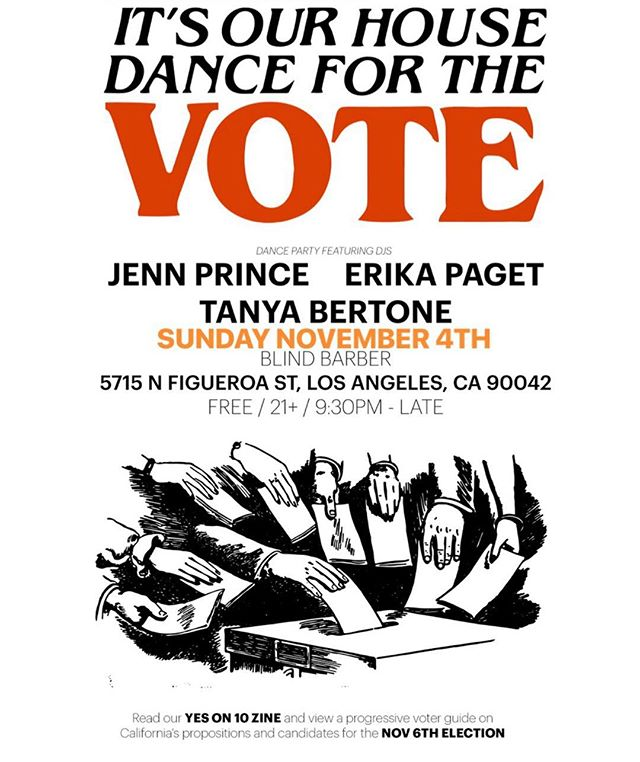 This Sunday catch Honey Power DJs @spacekelly, @iamjennprince & @tanyabert at Blind Barber! They'll have printed copies of a Yes On 10 zine + info on the well-researched progressive voter guide put together by @thefutureleft & some of our other members! Come on down, dance with us and get informed & inspired!
