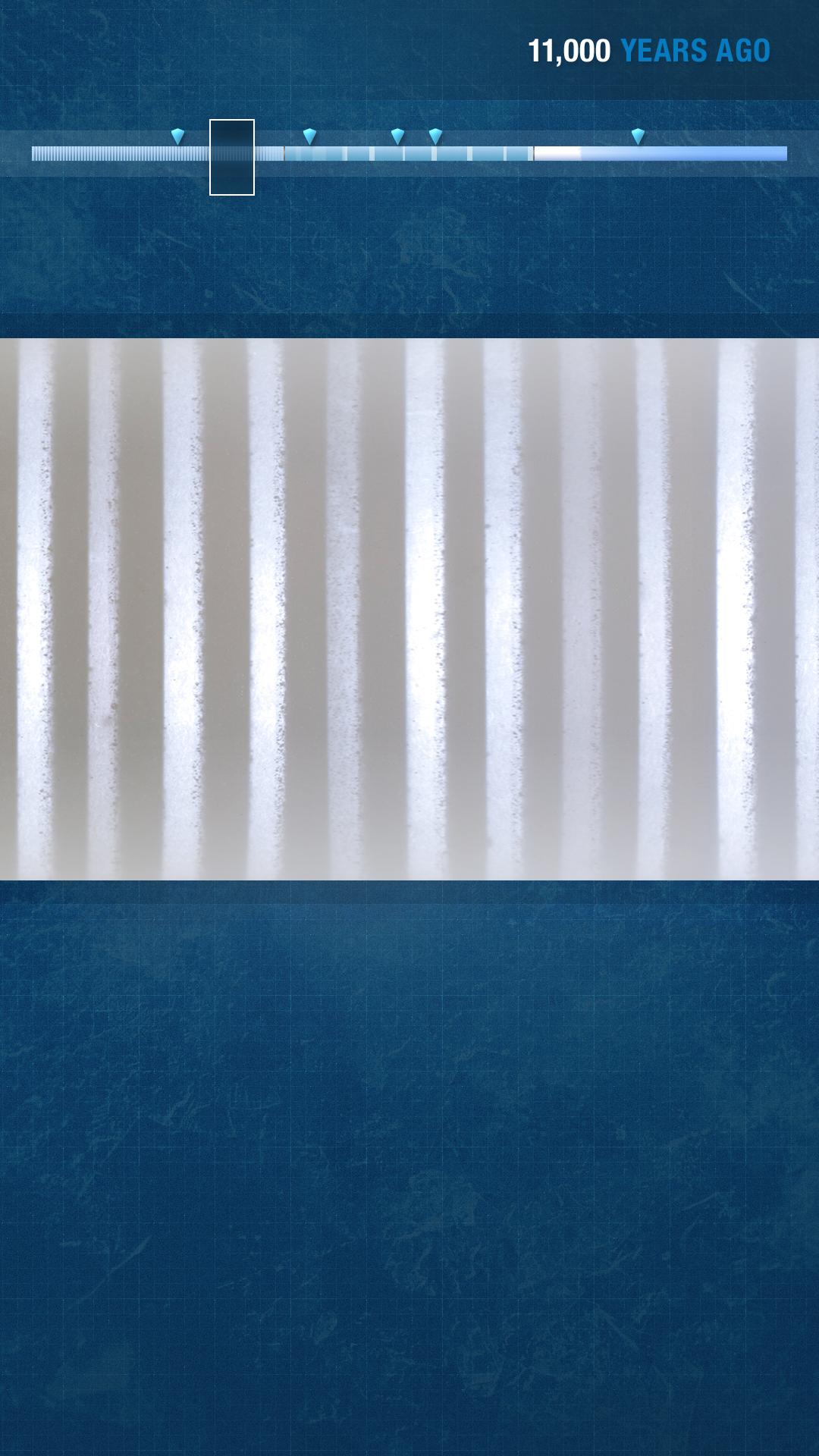 When not over a specific checkpoint, only the ice core is shown.
