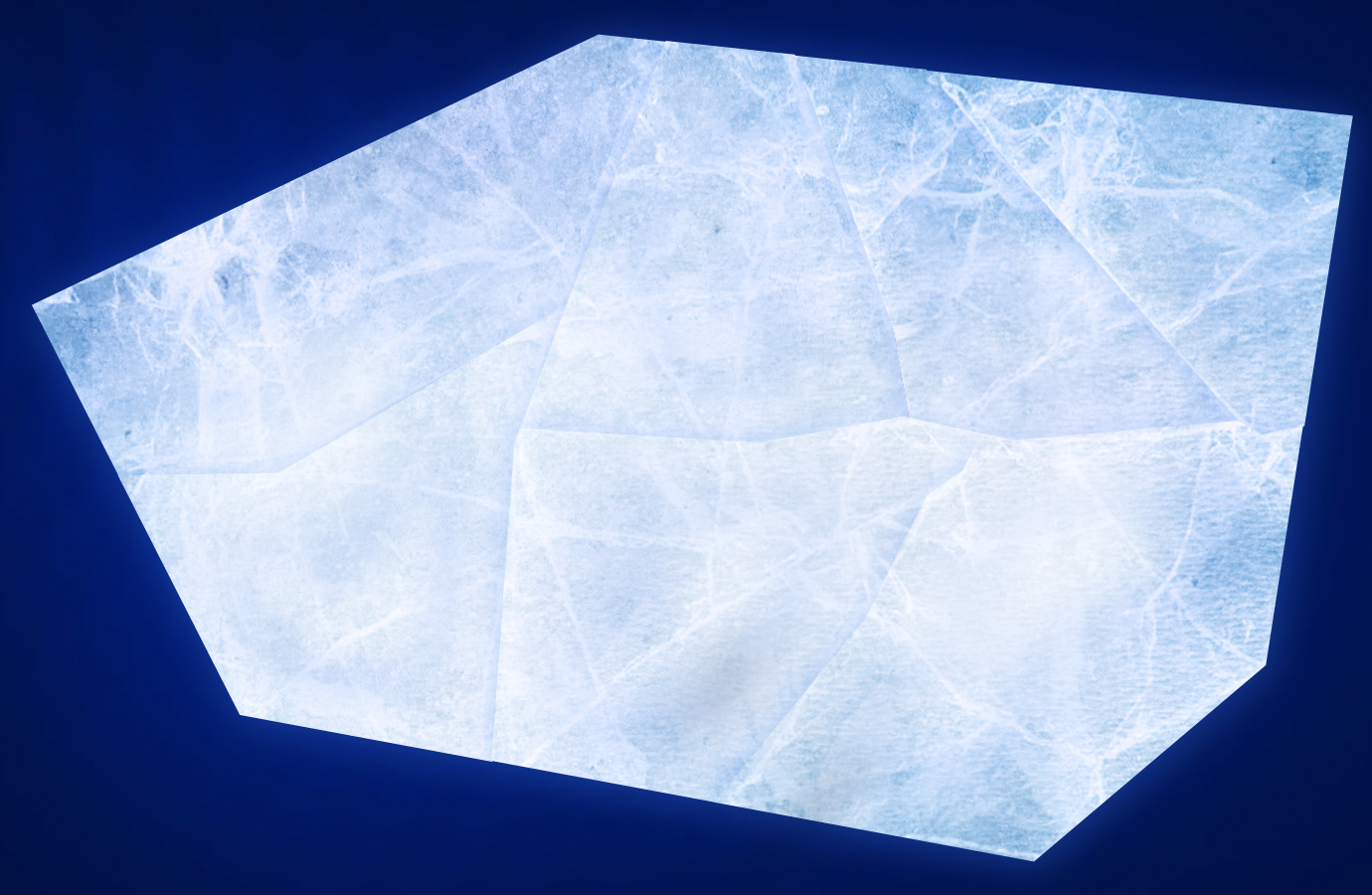 One of a series of ice floes, ready to crack apart.