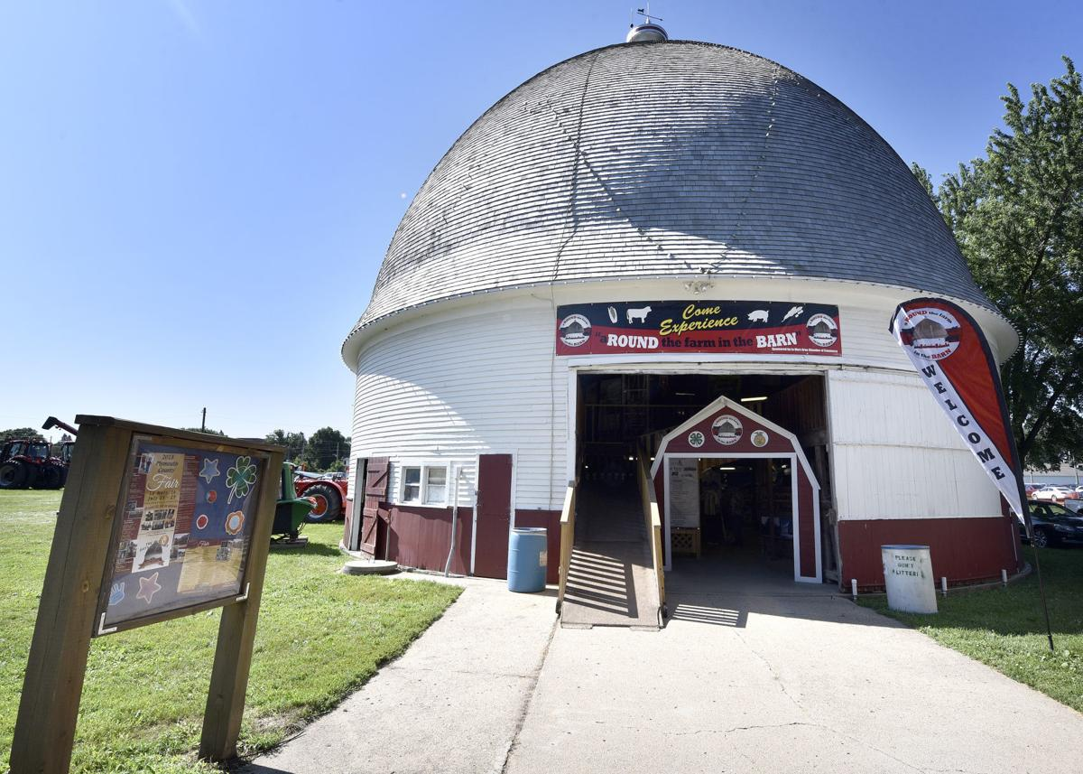 The Tonsfeldt round barn is shown on Tuesday at the Plymouth County Fairgrounds in Le Mars, Iowa. Fair organizers are celebrating the 100th anniversary of the barn built by H.A. (Peter) Tonsfeldt in 1918 to showcase his cattle. The barn was donated to the fair board and moved to the fairgrounds in 1981.  Tim Hynds, Sioux City Journal