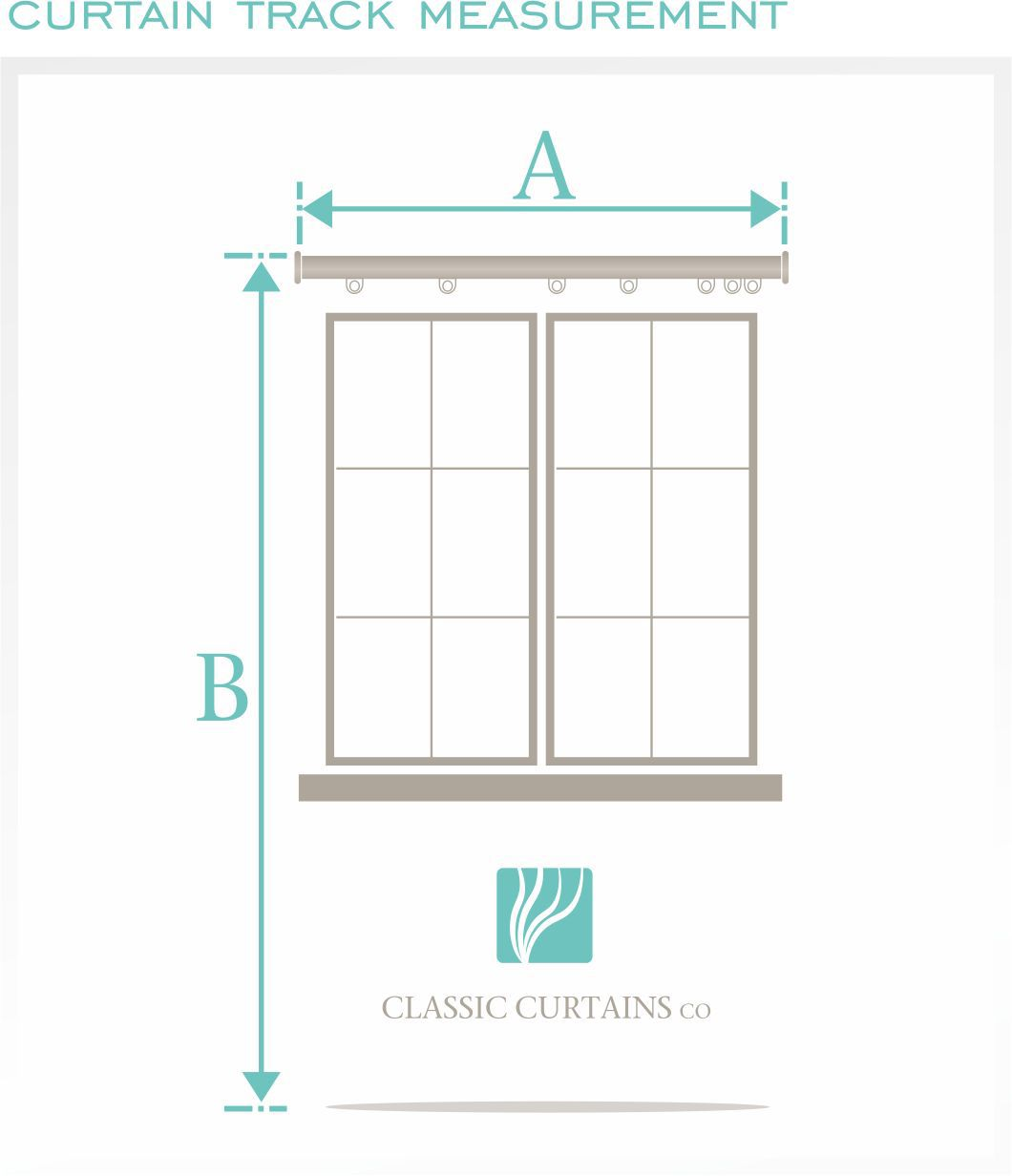 Track Measurement.  Measure A the total width of your track. (If you have a split track see below diagram for reference).  Then Measure B the Length (drop). This will depend on where you want the curtain to hang.   ** See Curtain lengths diagram for easy reference.