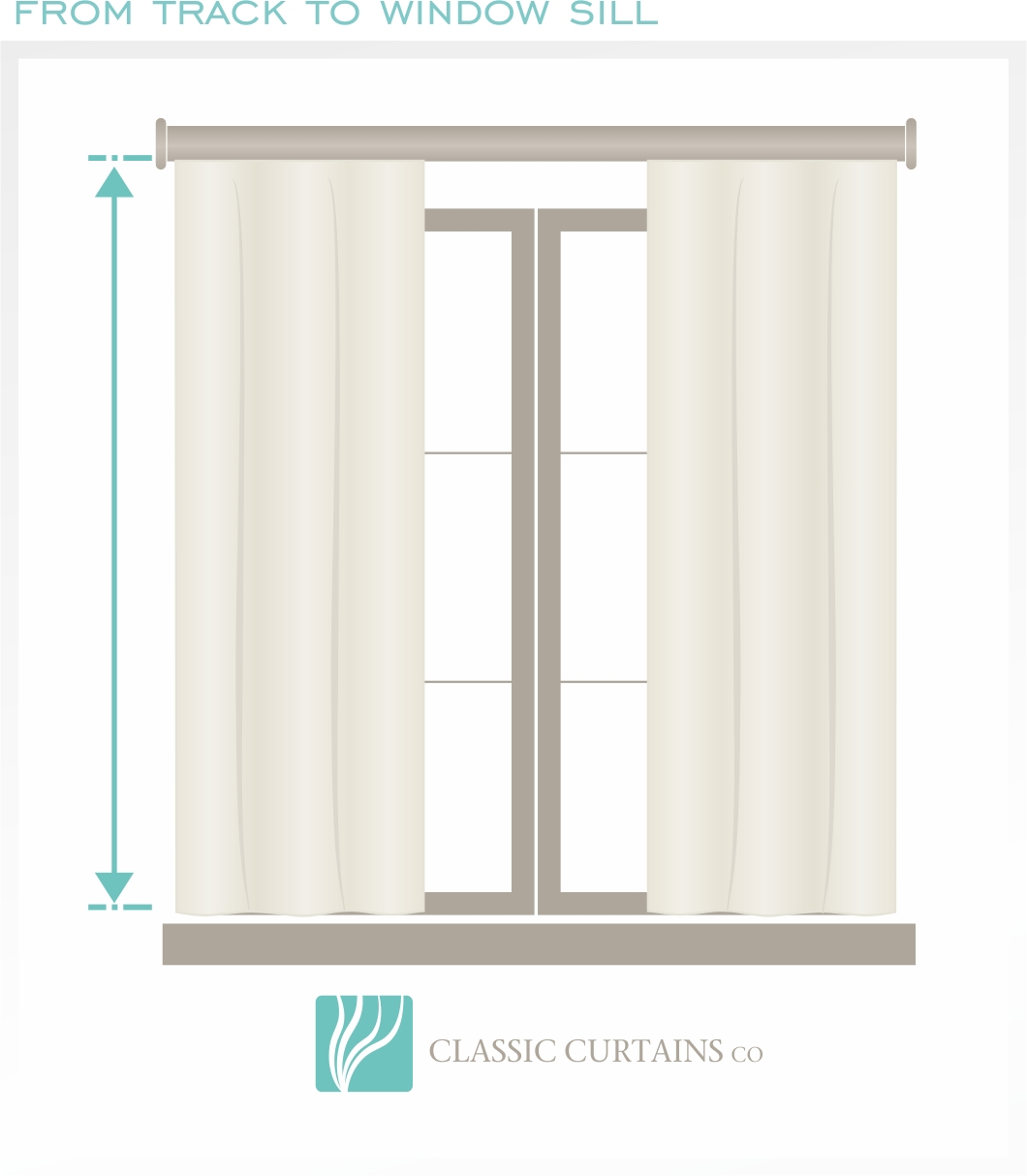An example of Window Sill length, If you would like the curtain to hang to the window sill.