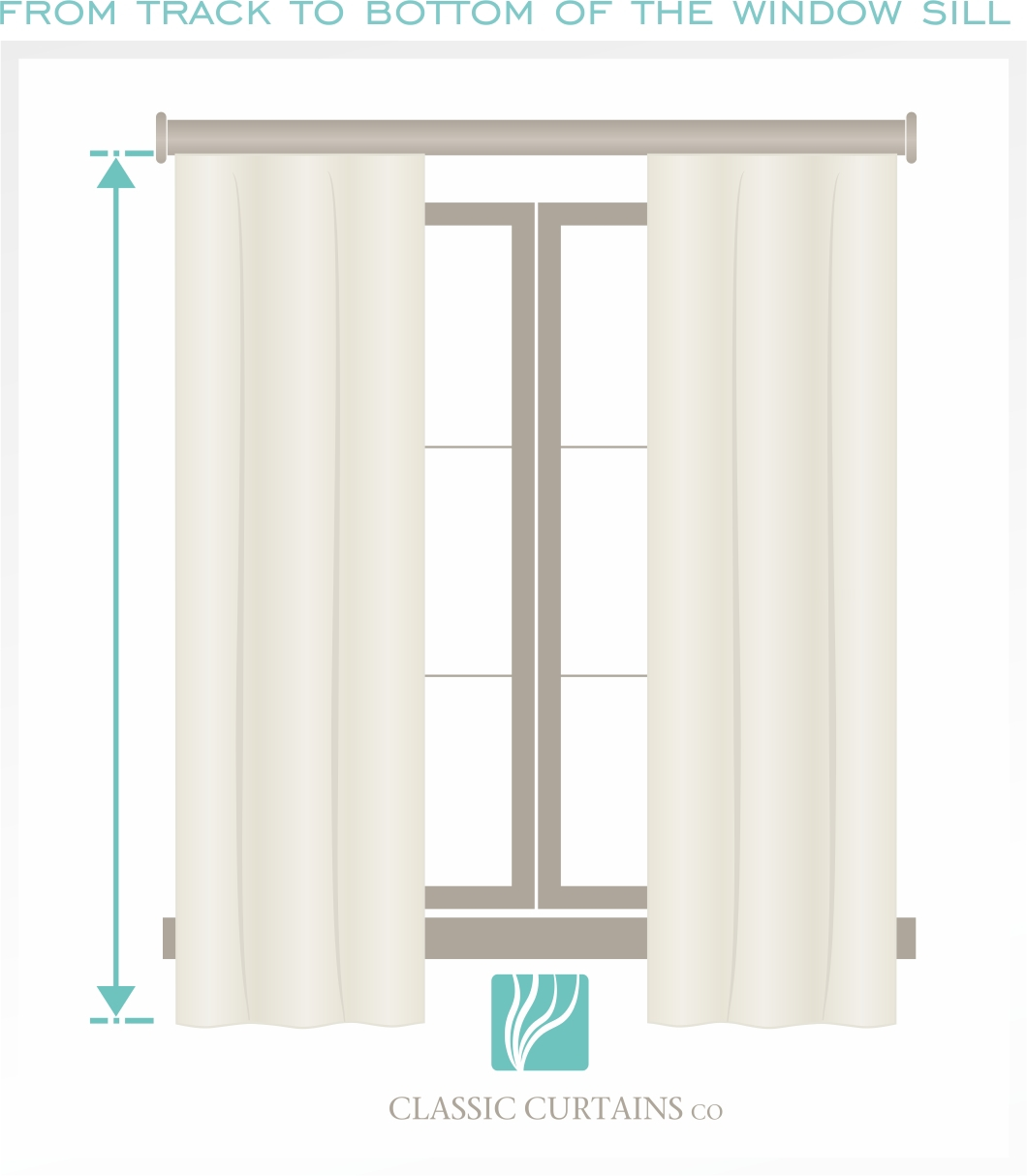 An example of a curtain hanging below the window sill if you would like the curtain to hang below.