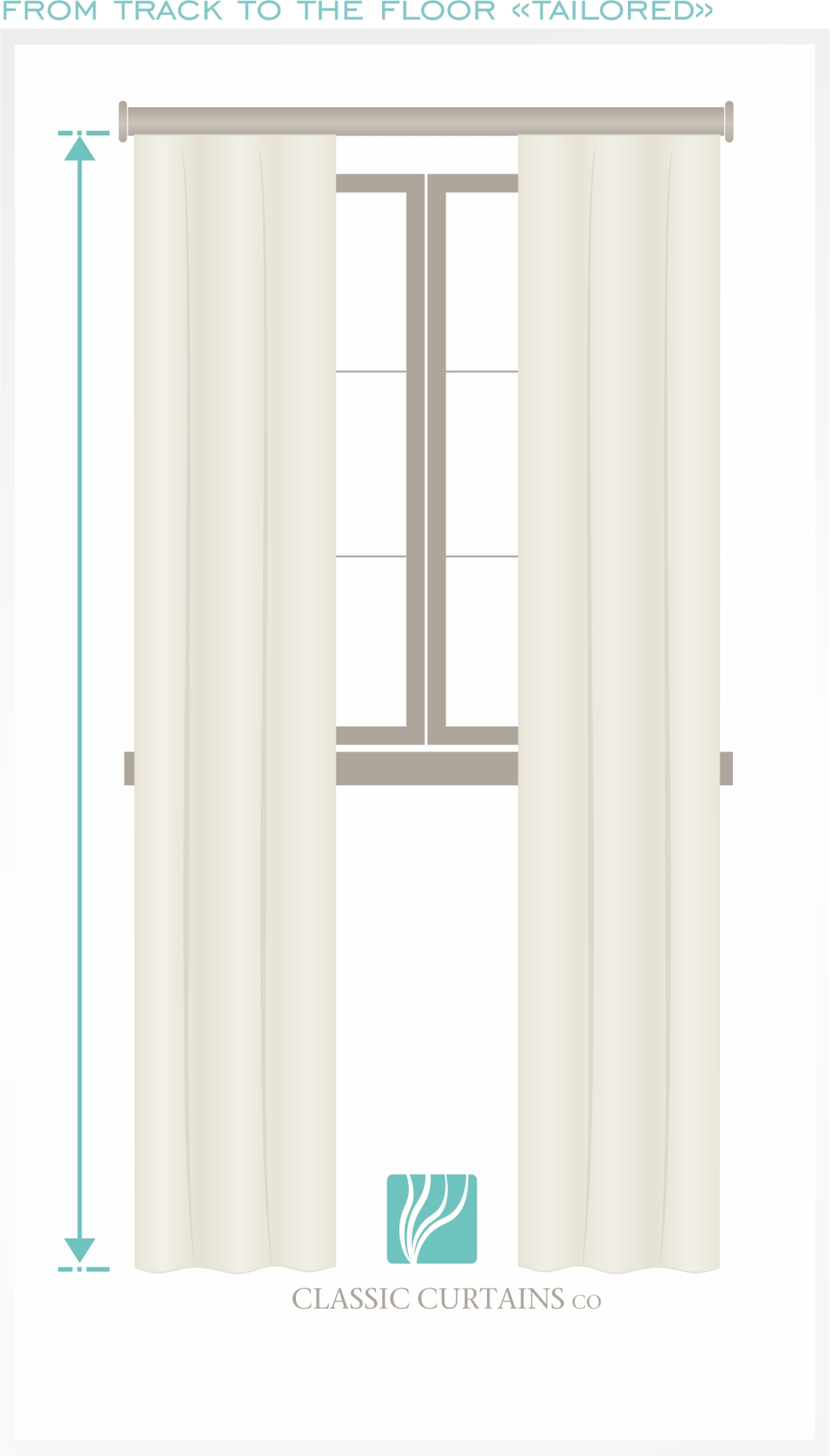 For a tailored, modern contemporary look with clean lines measure the length of your curtain to the floor.
