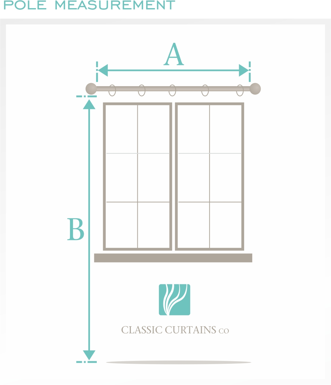 Pole Measurement.  Measure A the width of the pole , excluding the finals (decorative attachments attached to your pole).  Then measure B the Length (drop).  This will depend on where you want the curtain to hang. **See Curtain length diagrams for easy reference.