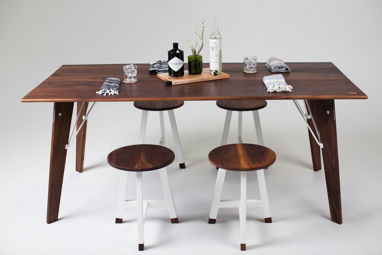 Bliss Table Black Walnut | White powder coat