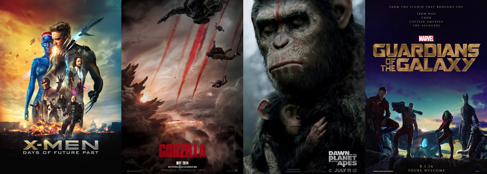 X-Men: Days of Future Past, Godzilla (2014), Dawn of the Planet of the Apes, Marvel's Guardians of the Galaxy