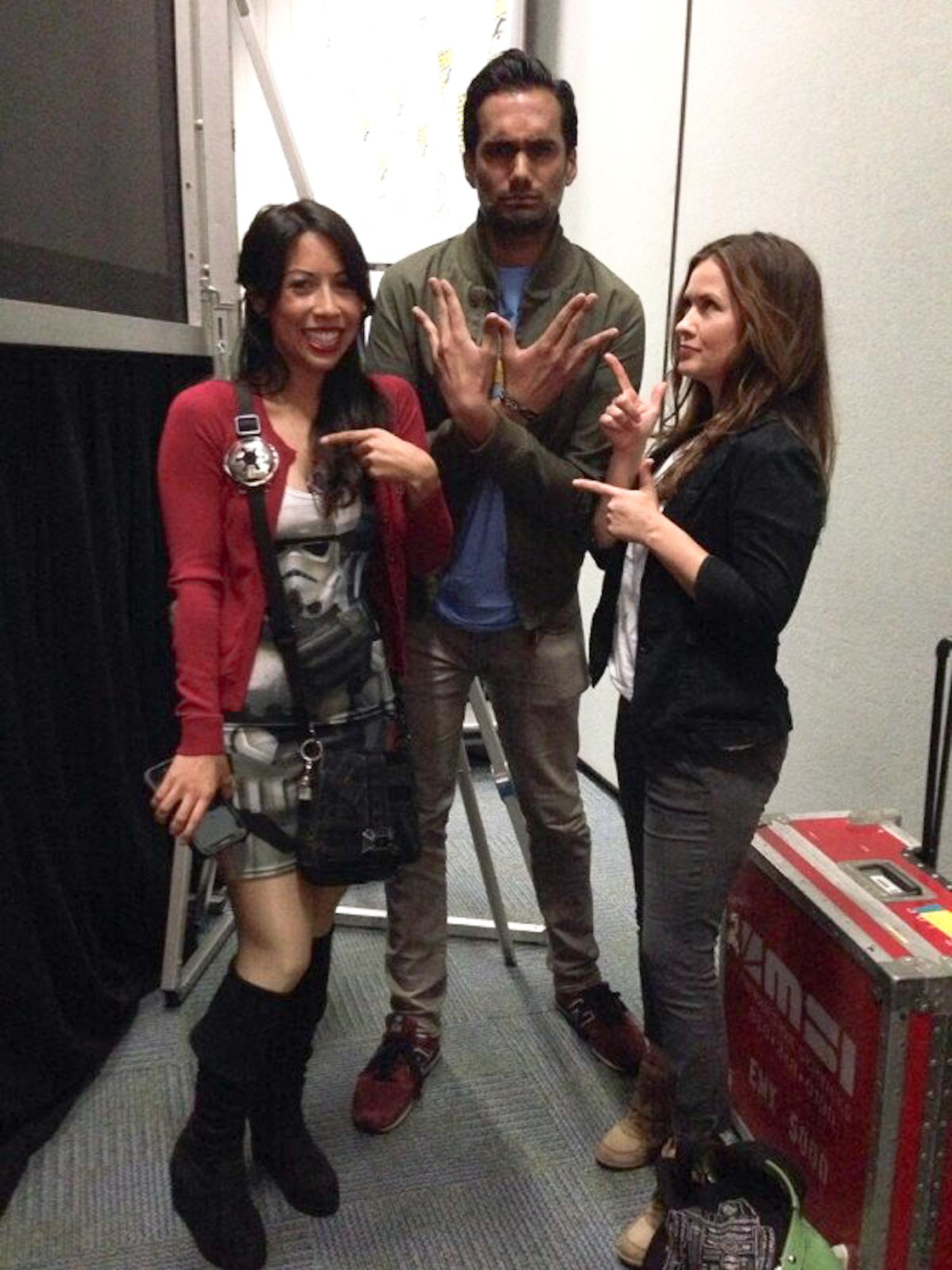 Andrea Letamendi, Ali Mattu, and Catherine Taber prep for the Psychology of Star Trek VS. Star Wars WonderCon panel. Photo by Consetta Parker