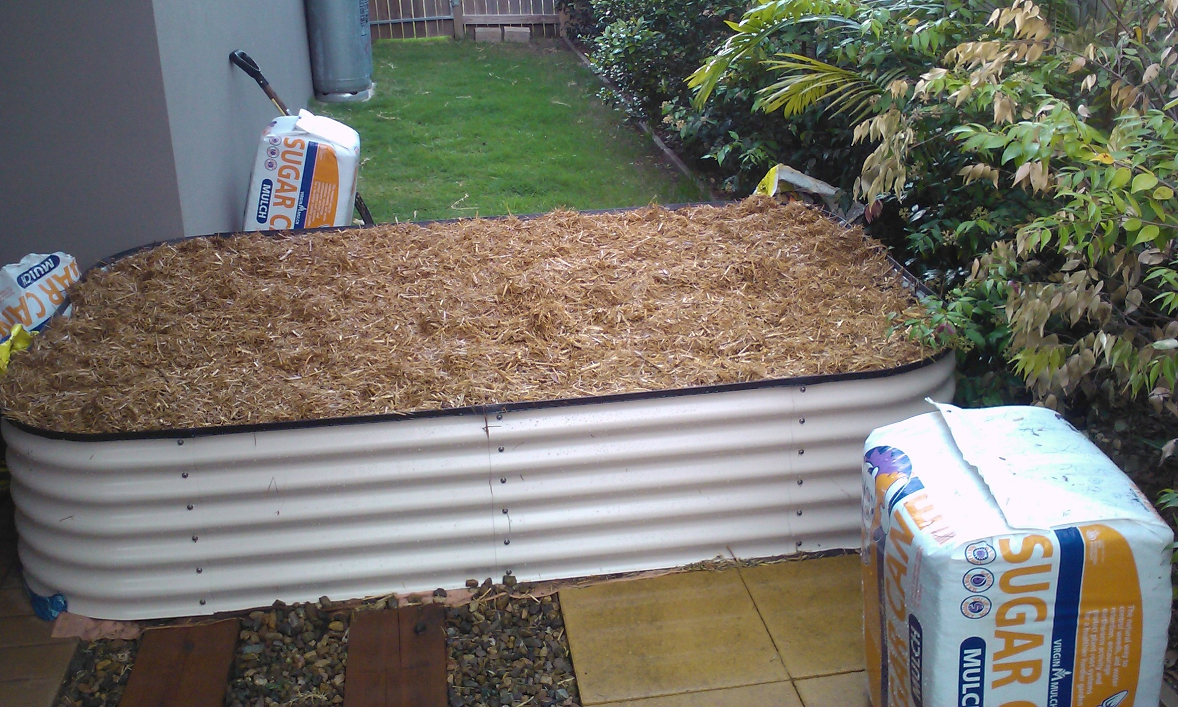 Completed no-dig raised garden bed.