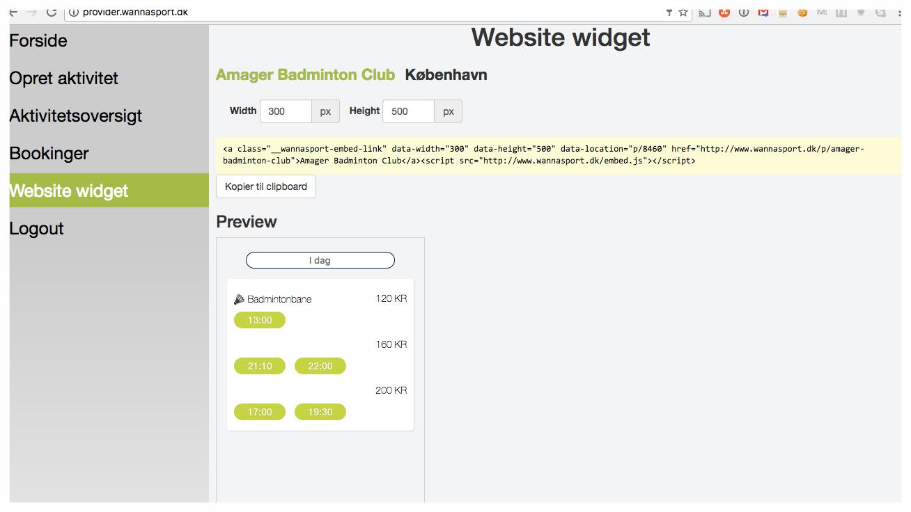 Når du skal skabe din personlige og tilpassede widget, kan du justere størrelsen, så du får det format, der passer til foreningens hjemmeside.