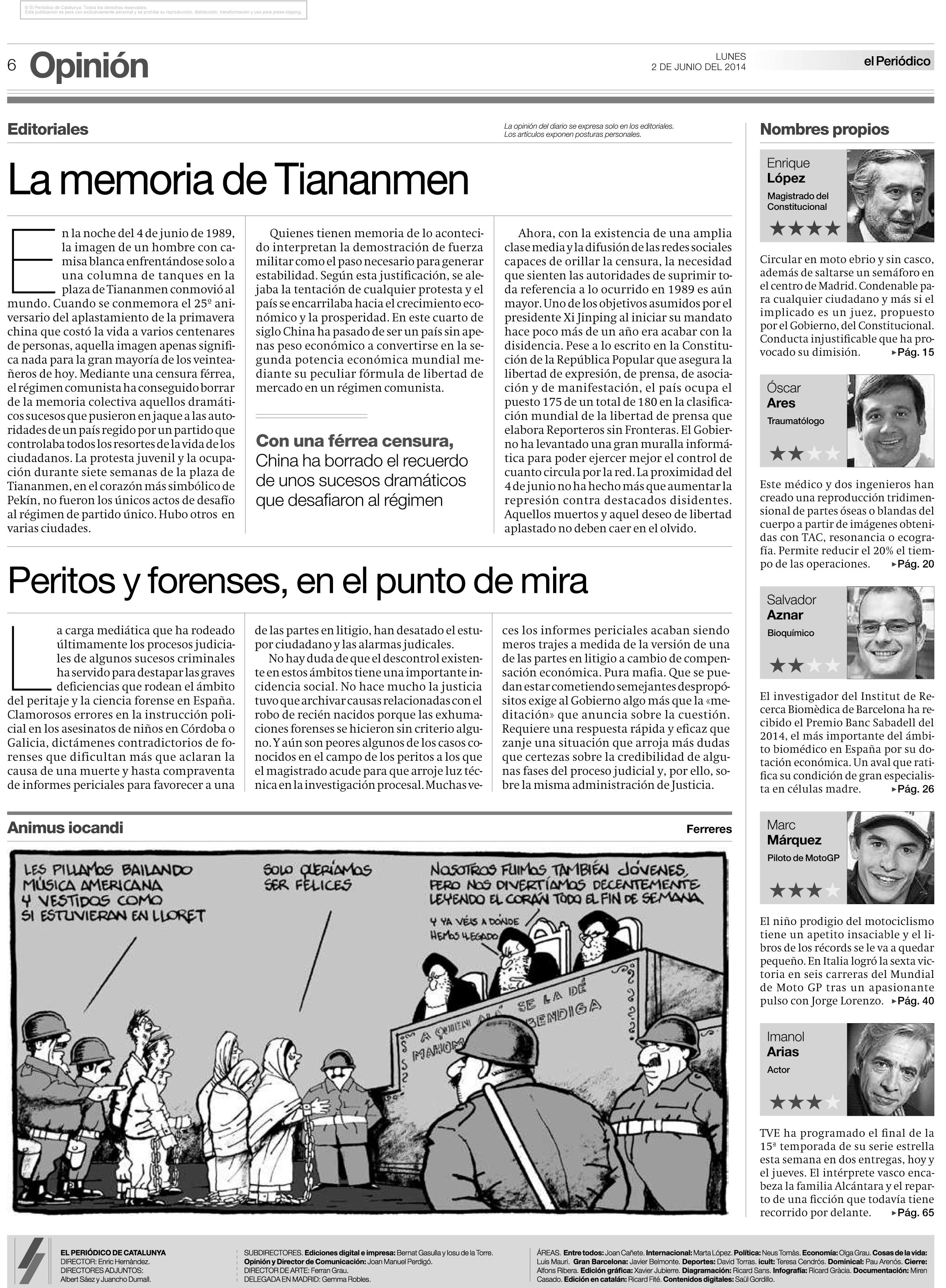 Editorial El Periódico 2 junio