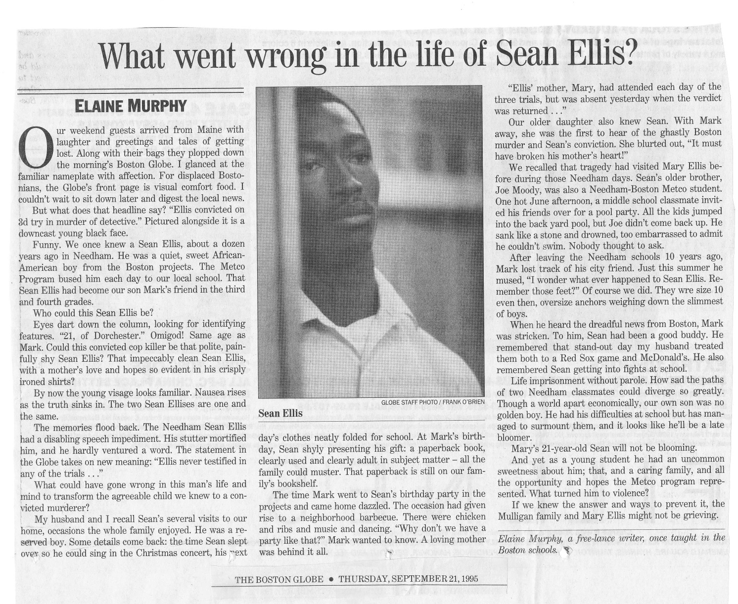 The Boston Globe op-ed piece I submitted from Montreal in September 1995 upon learning of Sean Ellis's conviction (text below).