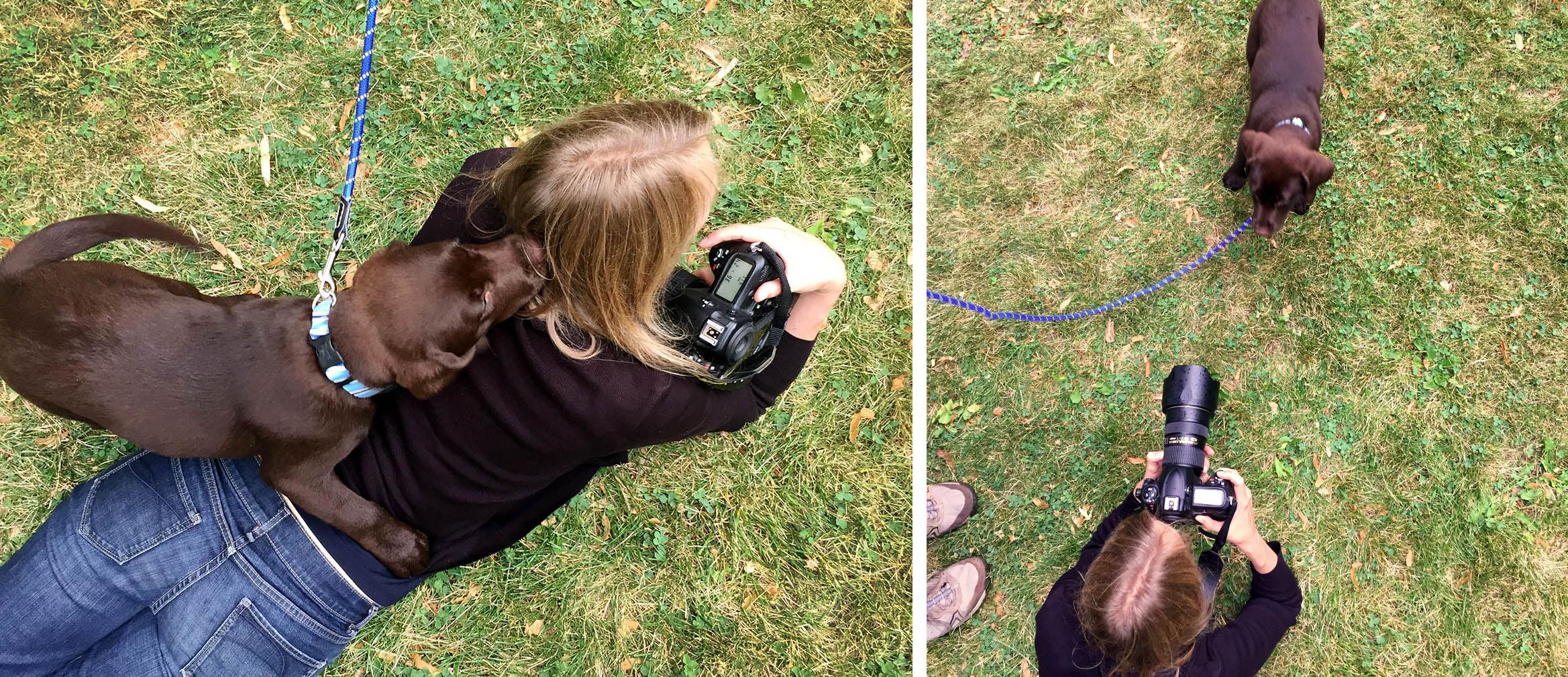 Un petit behind the scenes! Et oui! J'ai souvent des léchettes dans le visage et sur les oreilles (et dans les cheveux...)! Merci Danielle pour les photos!