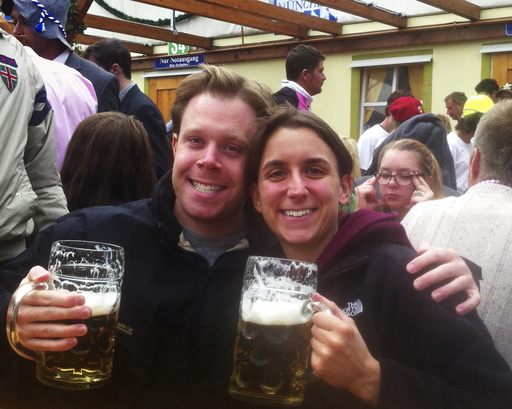 My other half & I at (the real) Oktoberfest. Don't ask which tent, don't remember; keep in mind those are one liter steins of beer.