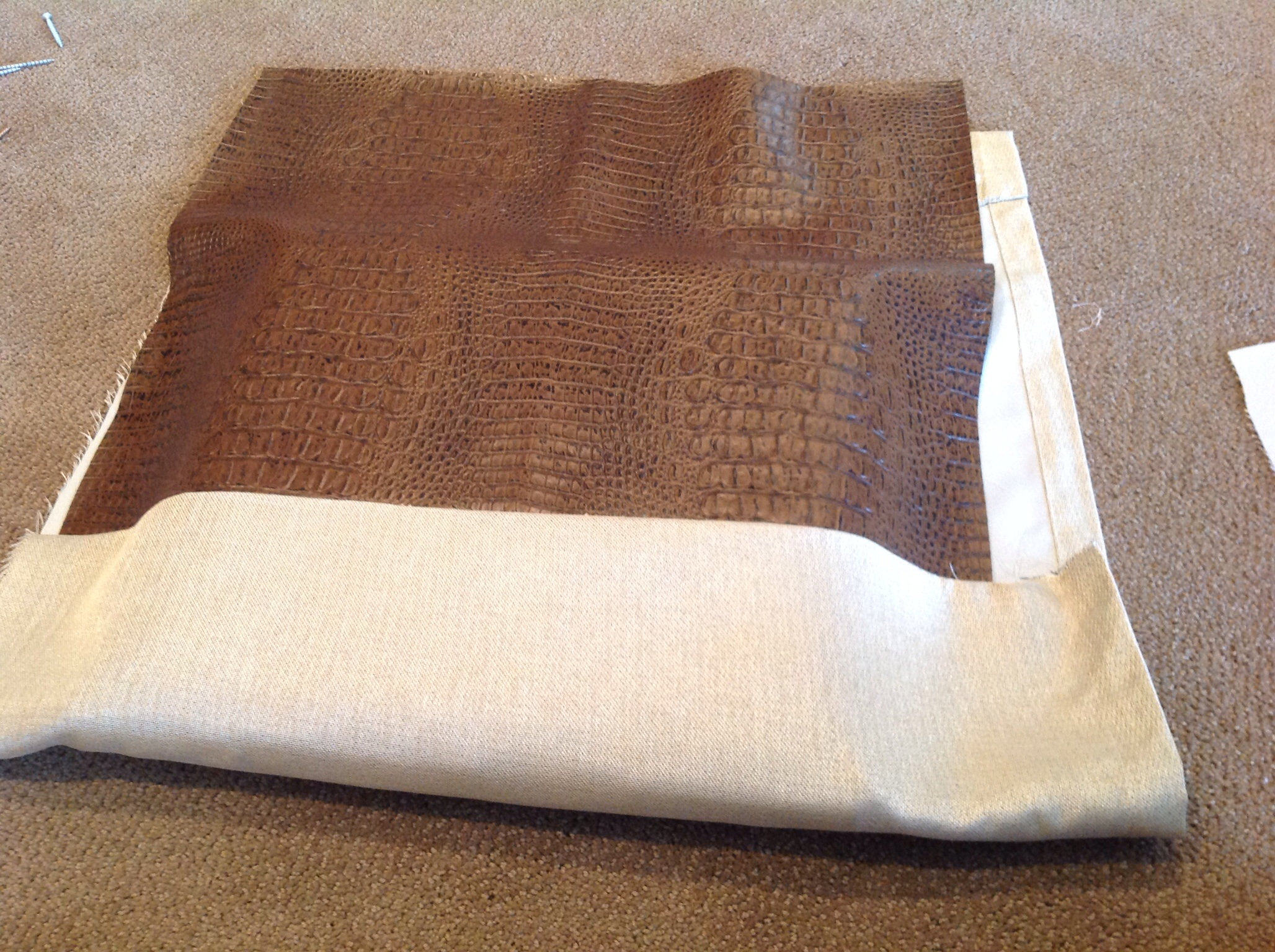 Determine how much of each fabric you want to use. I decided on a 2/3 leather 1/3 fabric ratio.