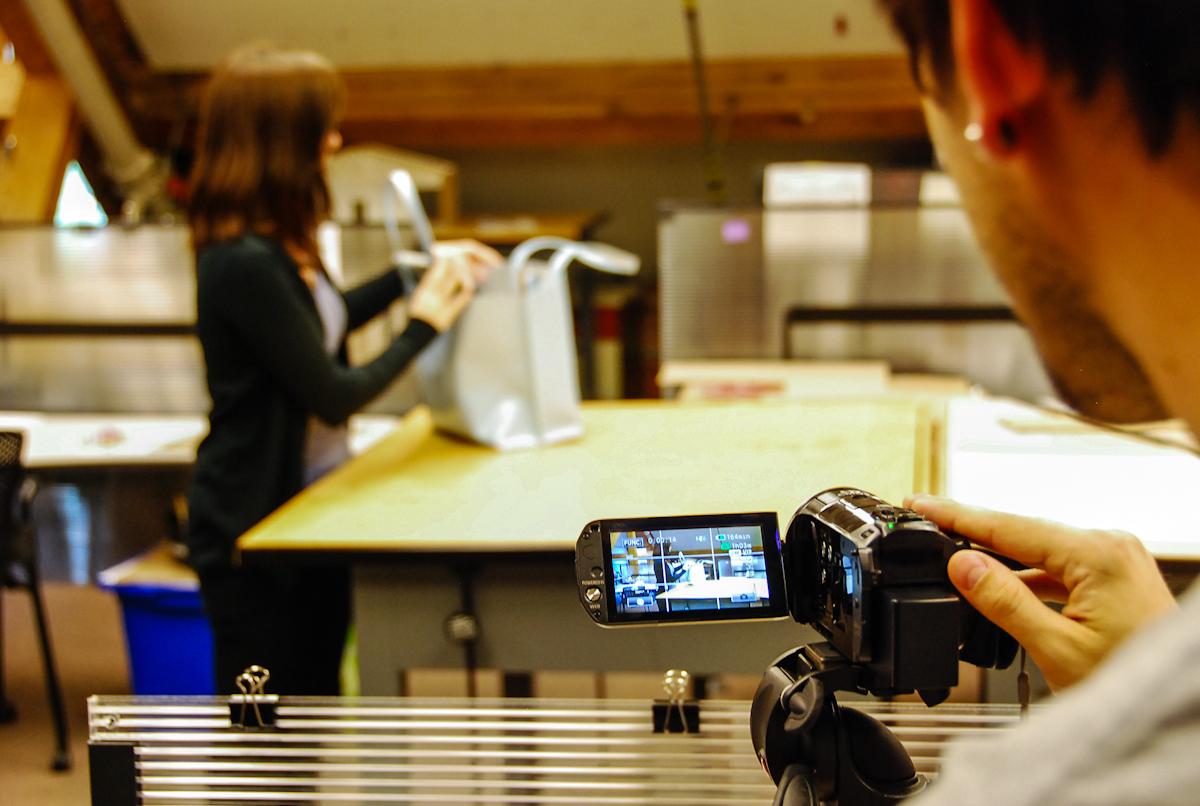Jimmy filming Prop model extraordinaire, Erin Brouillette