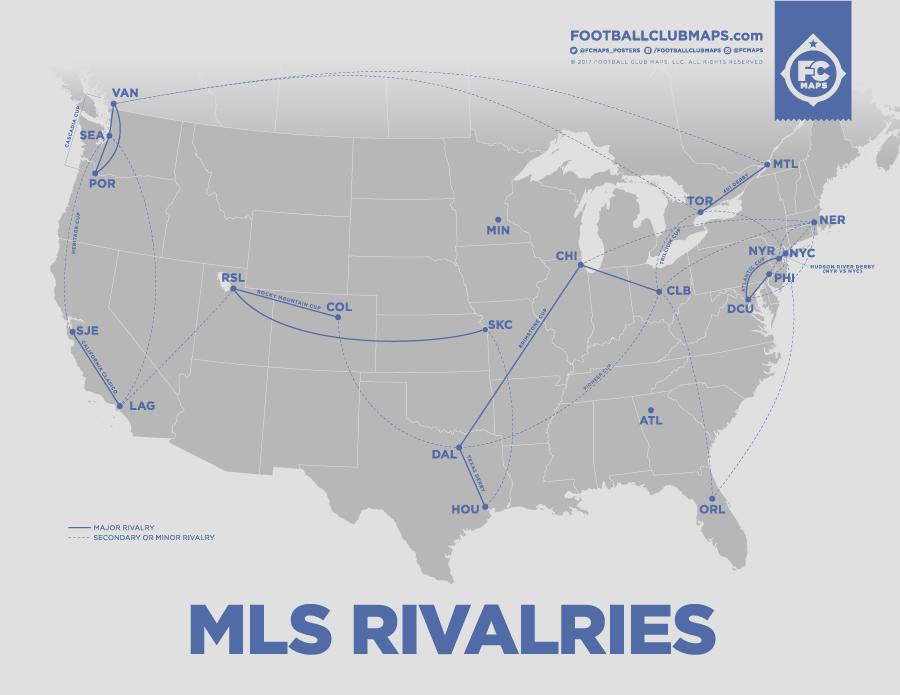 MLS Rivalries by FootballClubMaps.com
