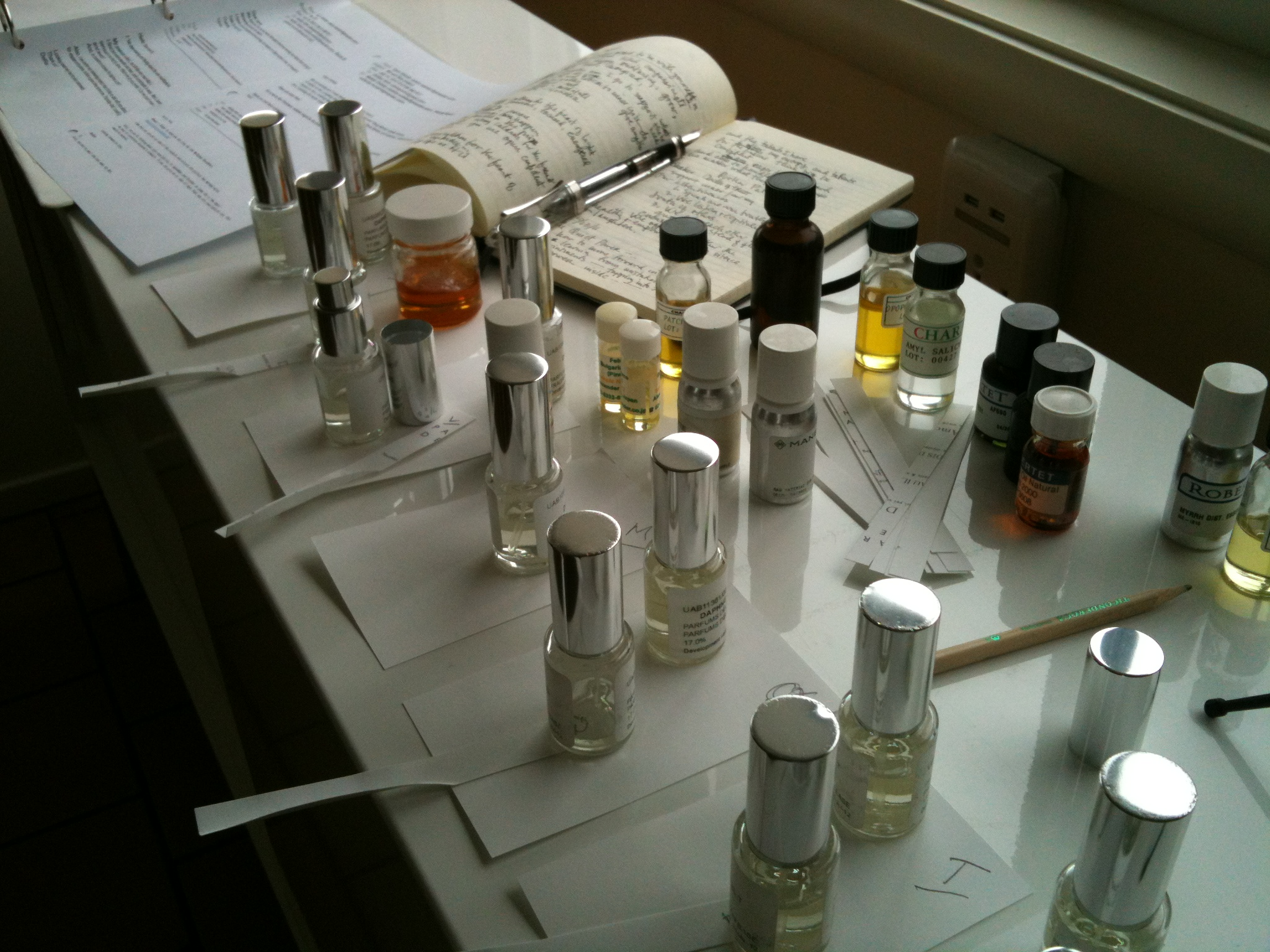 One of my favorite 'jobs', evaluating perfume modifications. Photo: DelRae