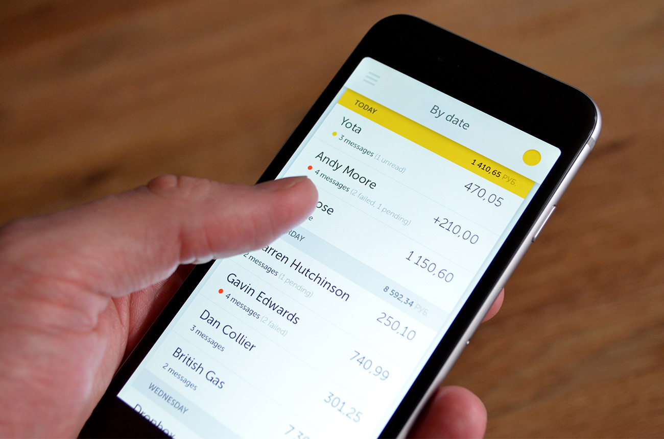 Mobile app: Transactions by date