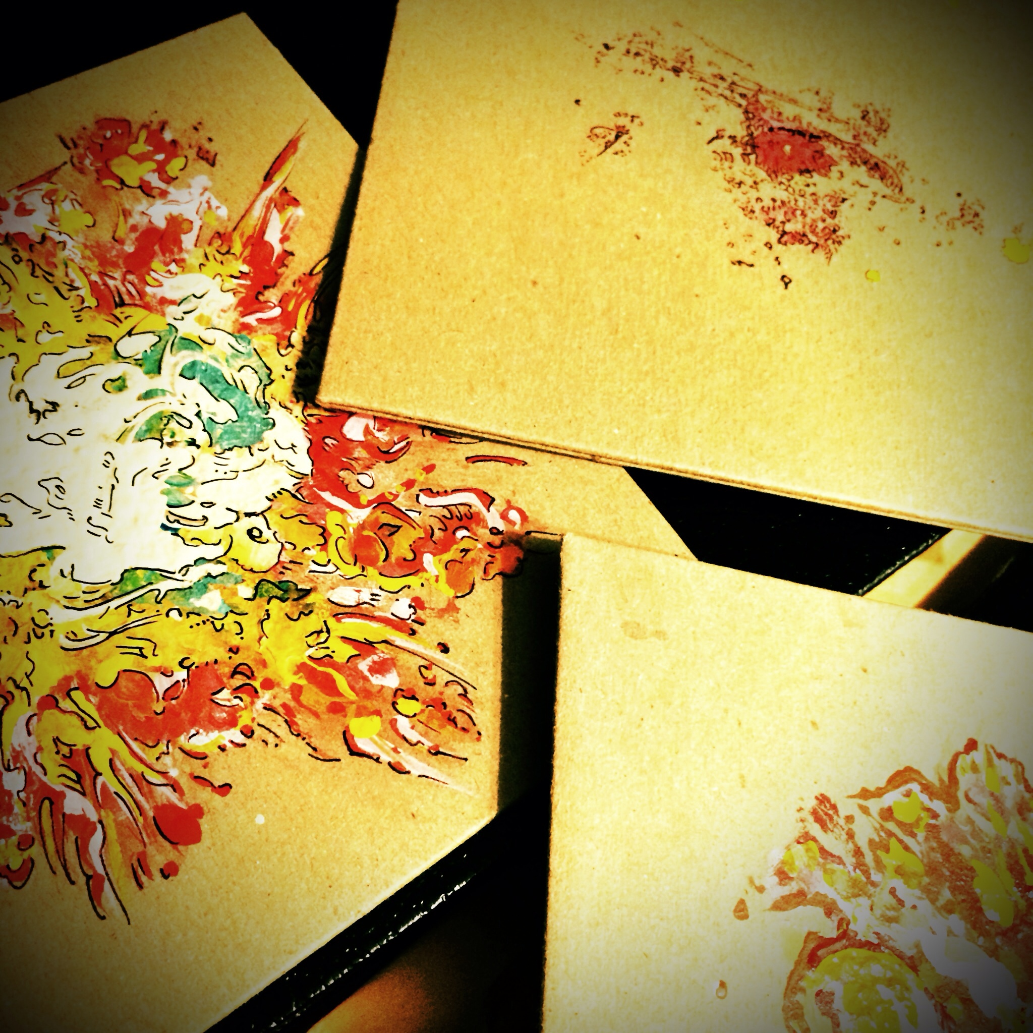 Limited Ed CD Covers In Progress (2013). These hand painted one of a kind CD sleeves started one afternoon in Houston, Texas, when I decided I just wanted to paint something for myself while hanging out in the hotel room before the gig that night. All I had was a dozen of these brown recycled sleeves so I grabbed one and started in. Well, at that moment in walked Truckee Brother Christopher Hoffee and Steve Poltz who wanted to finger paint too so we all tucked in and painted the afternoon away. We had made so many that night we offered them for sale at the gig. Wouldn't you know it, they sold out, and I've been painting them ever since.