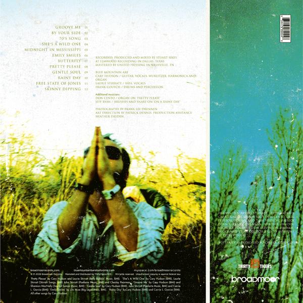 Blue Mountain Vinyl LP & CD (2010). Art Direction & Packaging Design. Photographer Frank Lee Drennen. Back cover of the Vinyl version.
