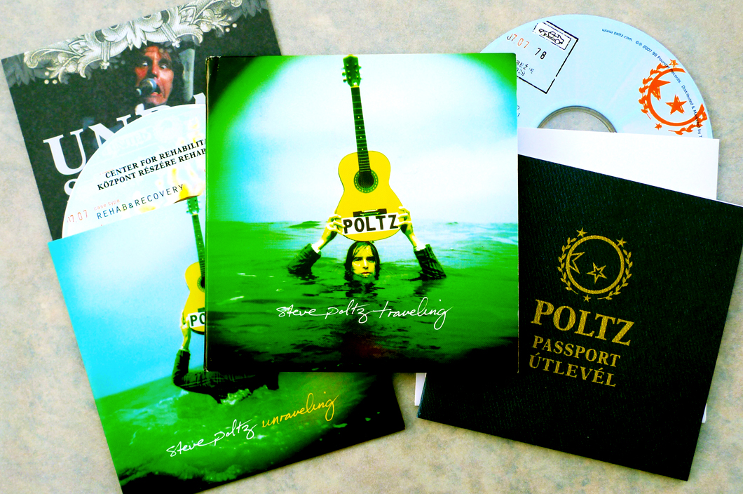 Steve Poltz CD + Bonus CD (2010). Art Direction & Packaging Design.'Traveling' package featured 70s tip-on gatefold sleeve, a 'passport' booklet and white inner sleeve to hold the CD. In its 2nd sleeve would sit the Bonus CD 'Unraveling' which, sold separately, featured a 2 panel sleeve holding the CD and a 'rehabilitation certificate' with secret Poltz related information. Photographer Frank Lee Drennen.