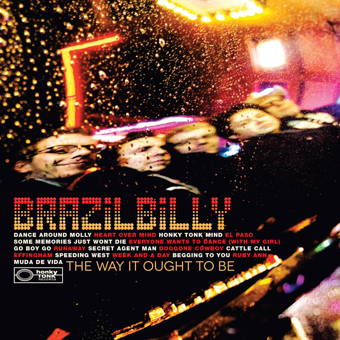 Brazilbilly CD (2012). Art Direction & Packaging Design. We shot this picture about ten minutes after we got the vinyl version shot. Guitarist Chris Cassello was actually performing at Robert's that night and had run back in to play a few tunes while we waited out a short lived cloud burst. Again we were capturing the reflection of the band in the Cadillac's trunk lid to put a modern twist on the classic old Nashville album covers of the 60s and 70s. We took this shot just before we wiped down the car surface from the rain and got what I think is a beautiful image. If you look closely at the bottom of the shot you can see the entire length of Lower Broadway reflected in the car shape. Gorgeous.