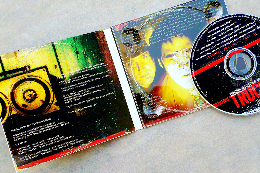 Truckee Brothers CD (2005). Art Direction & Packaging Design. Inside panels. The erie film-camera cross-processed treatment of Frank Drennen's shots really added to the off-kilter zappa-esque horror-film album that had been made. Of course, that inside panel picture of the band nearly resulted in Hoffee being face melted by the industrial lamp used to get such a hot shot. Photographer Frank Lee Drennen.