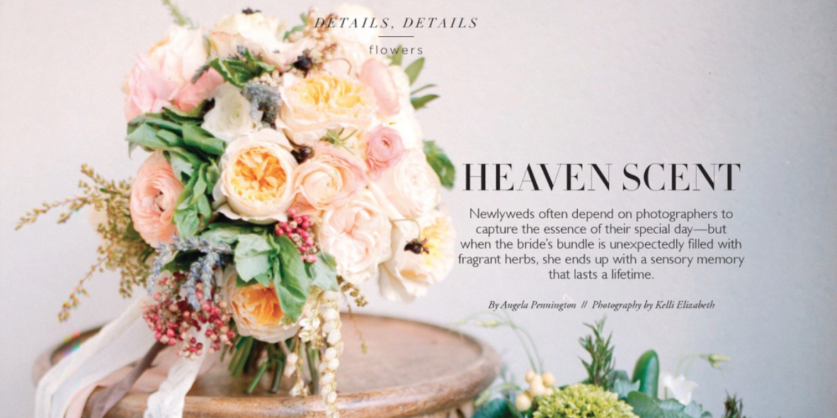A cropped image of the article featuring out bouquet.  We were asked to create a bouquet with herbs. The description of some of the items selected are in the article bellow.