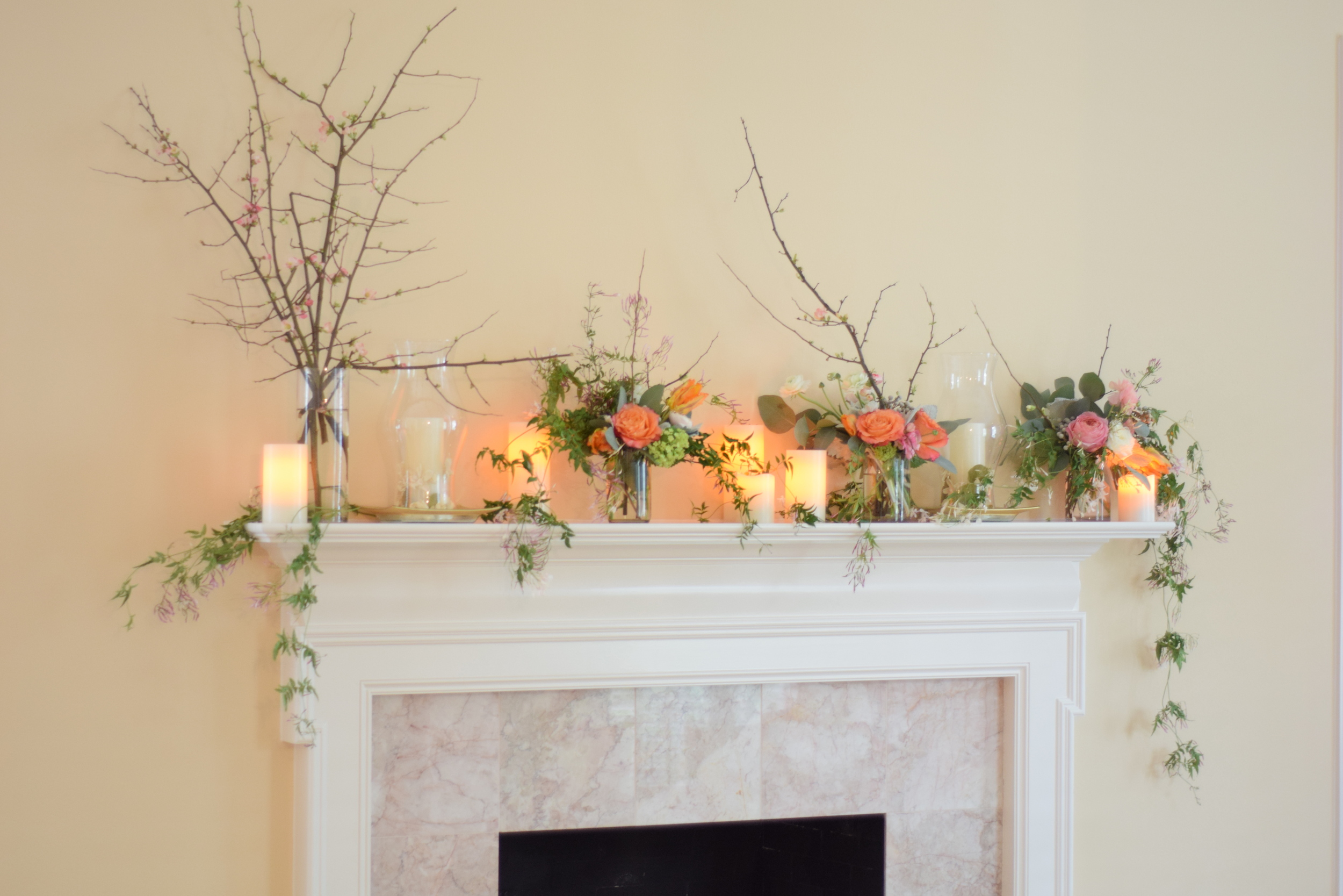 Fireplace Mantel Flowers, Maxit Flower Design
