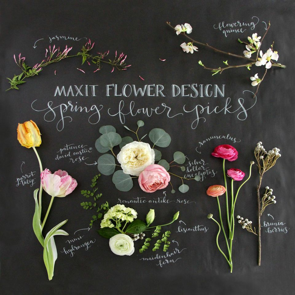 Spring Wedding FLower Guide.  Created by Kristara Calligraphy & Maxit Flower dEsign