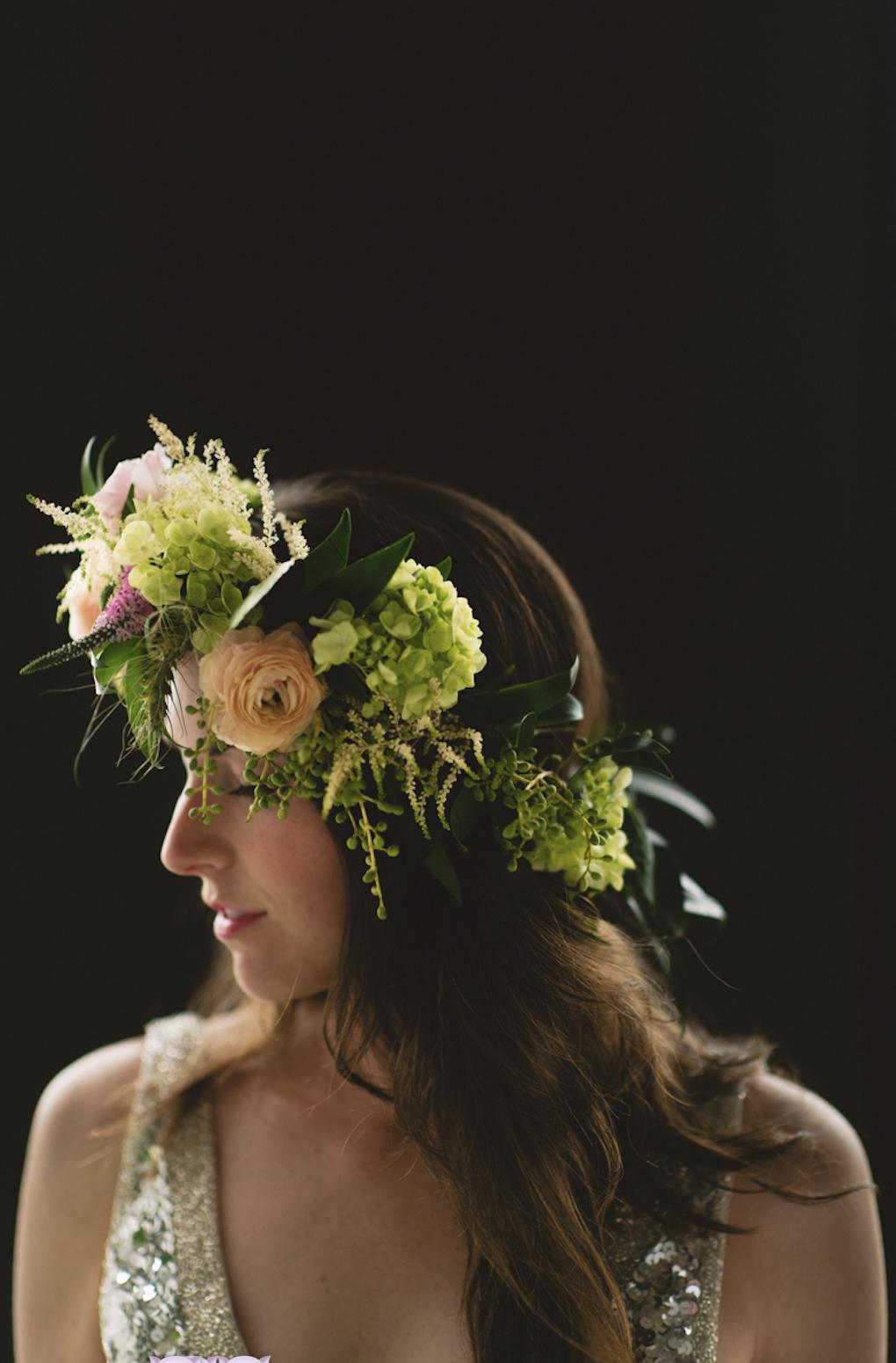 Organic flower crown on bride.