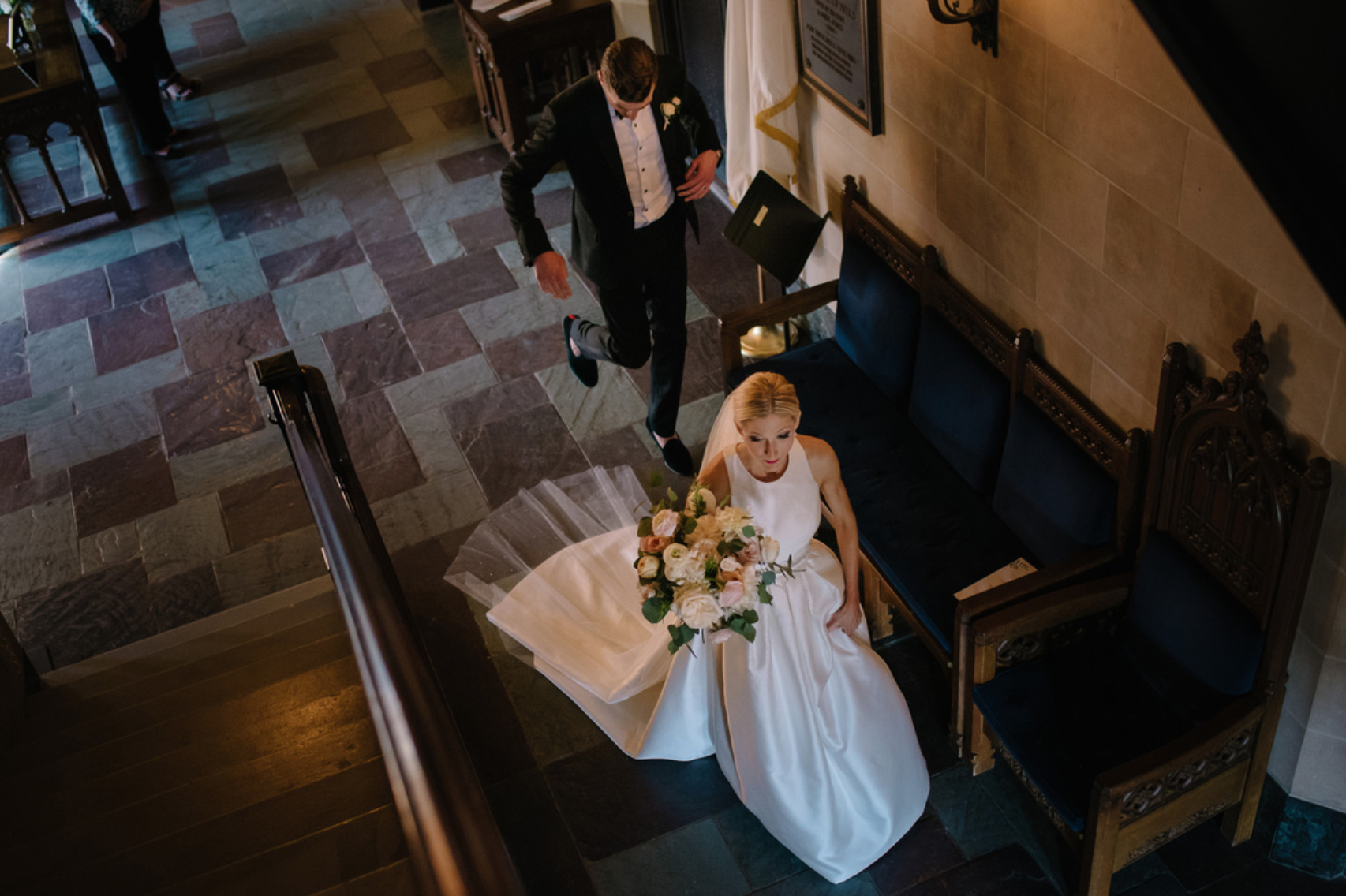 A candid moment after the ceremony. Bridal Bouquet on full display.