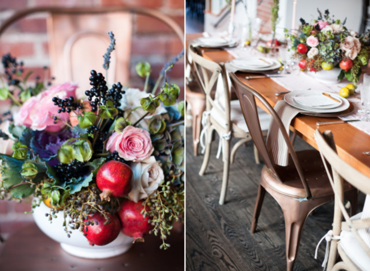 Gorgeous feat inspired florals by Bare Root Flora. Photography by Sarah Box Photography. Check out the entire feature  here .