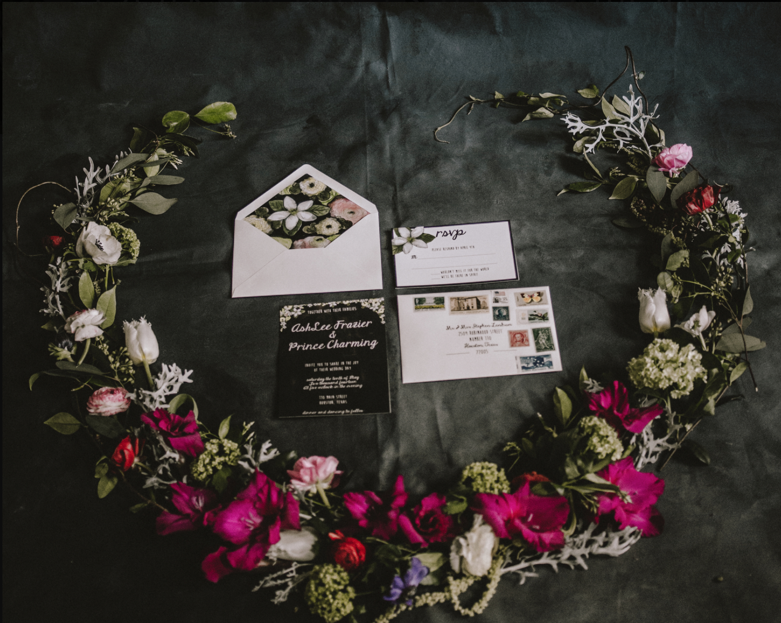 Dark floral inspired Prince Charming invitation suite for styled shoot in Houston, TX.