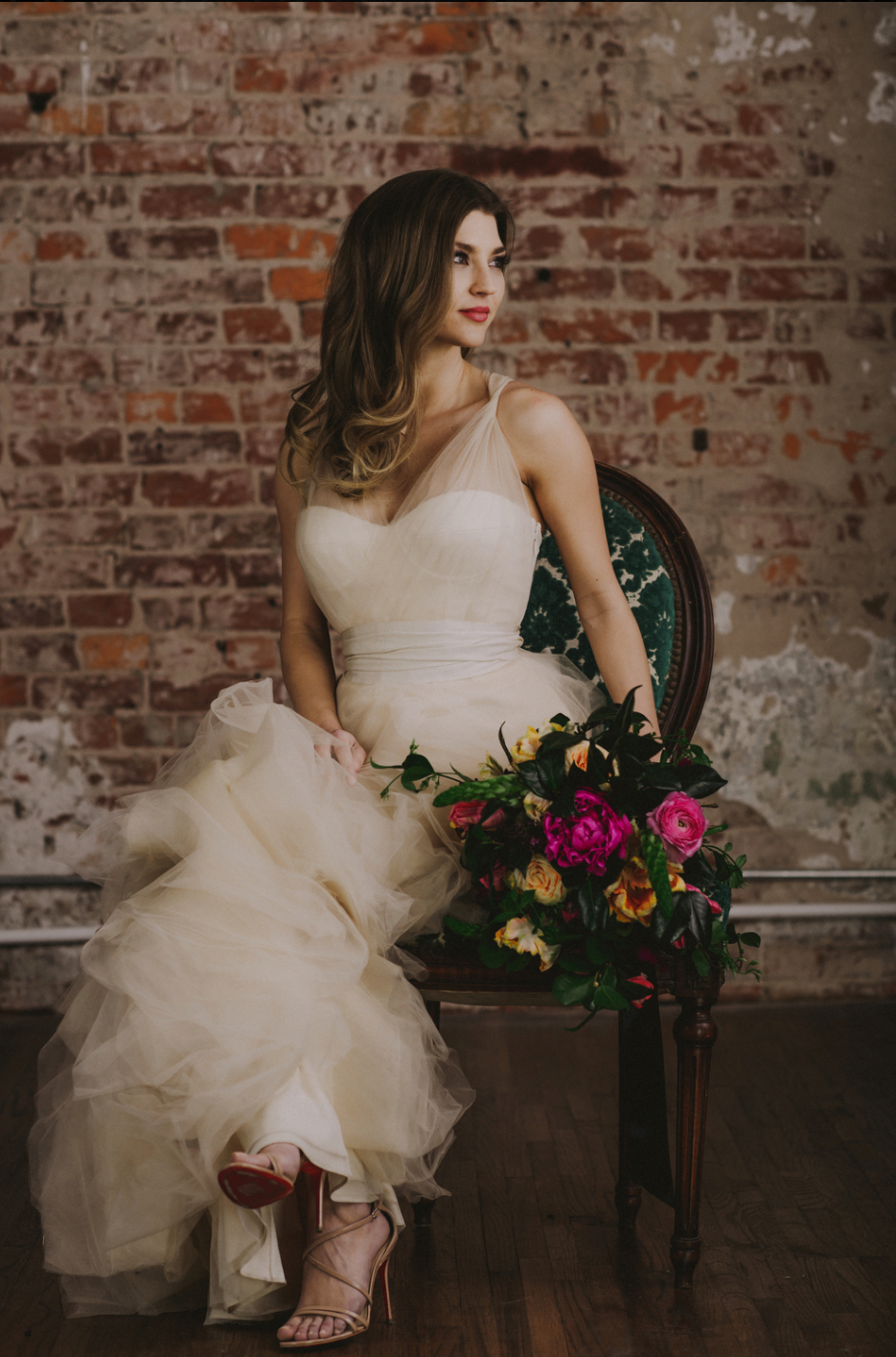 Ashlee Frazier in a stunning wedding gown during an engagement styled shoot. Houston, TX.