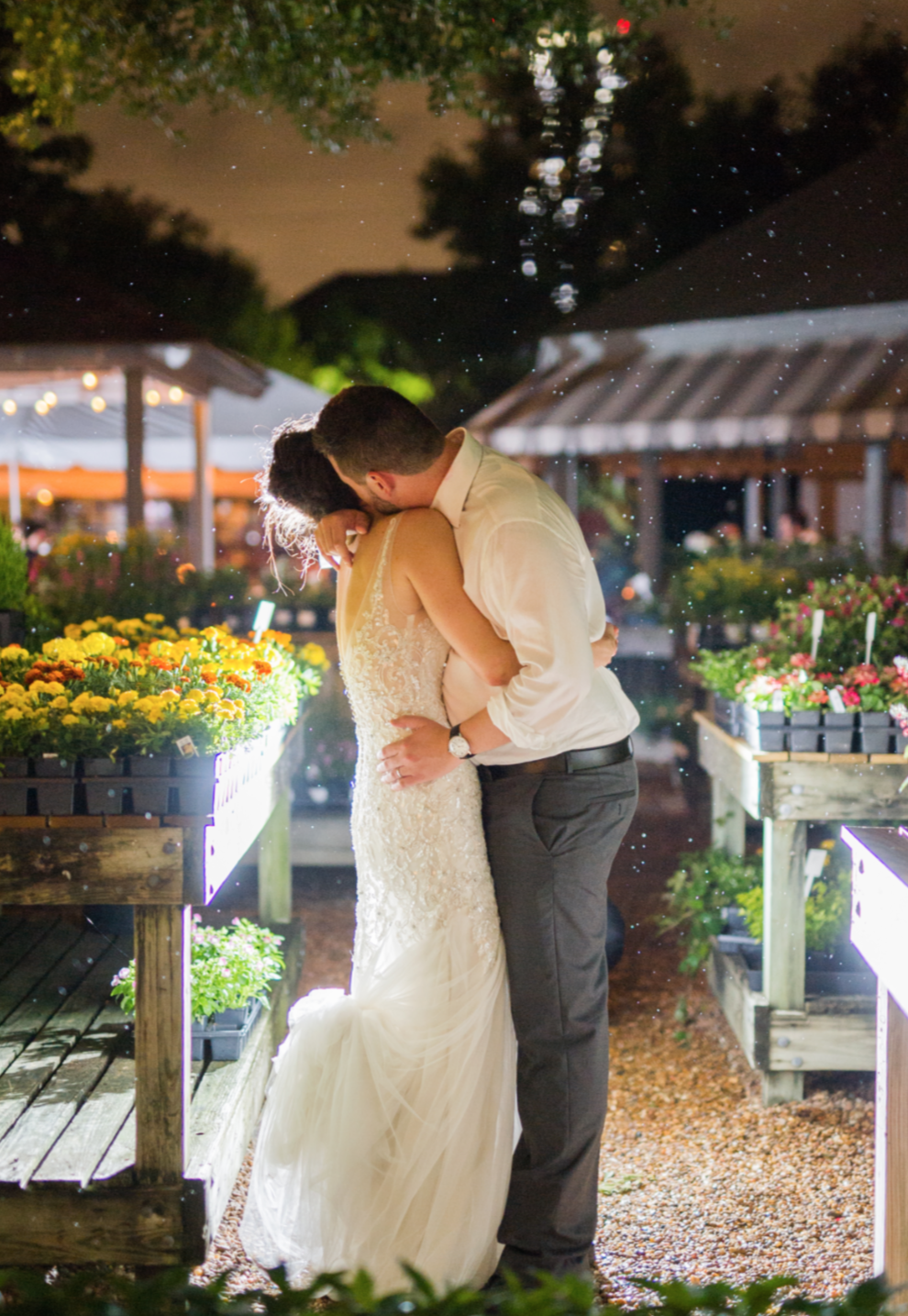 Ending the night in the garden with a kiss.